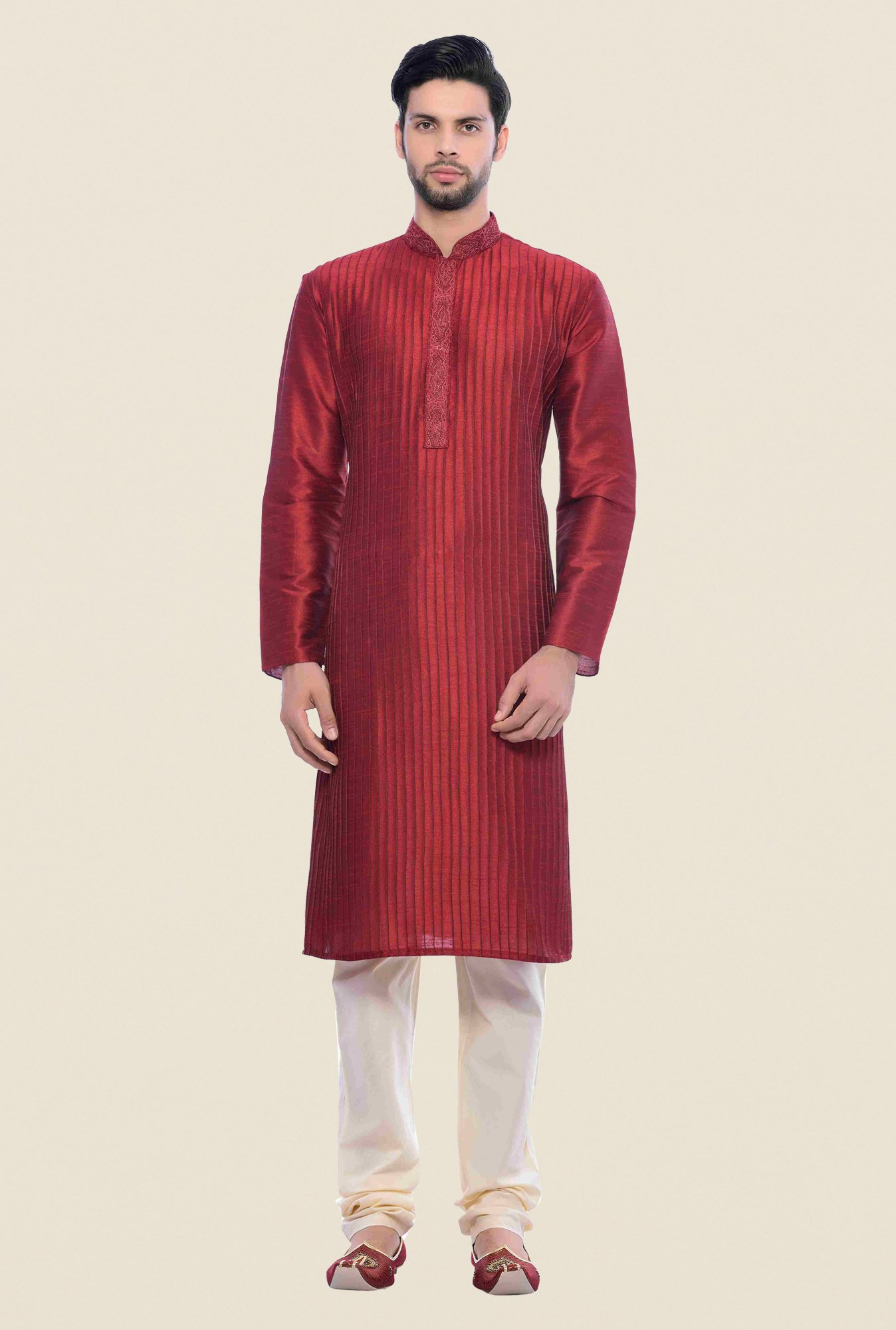 Manyavar Maroon Striped Kurta & Chudidar Set