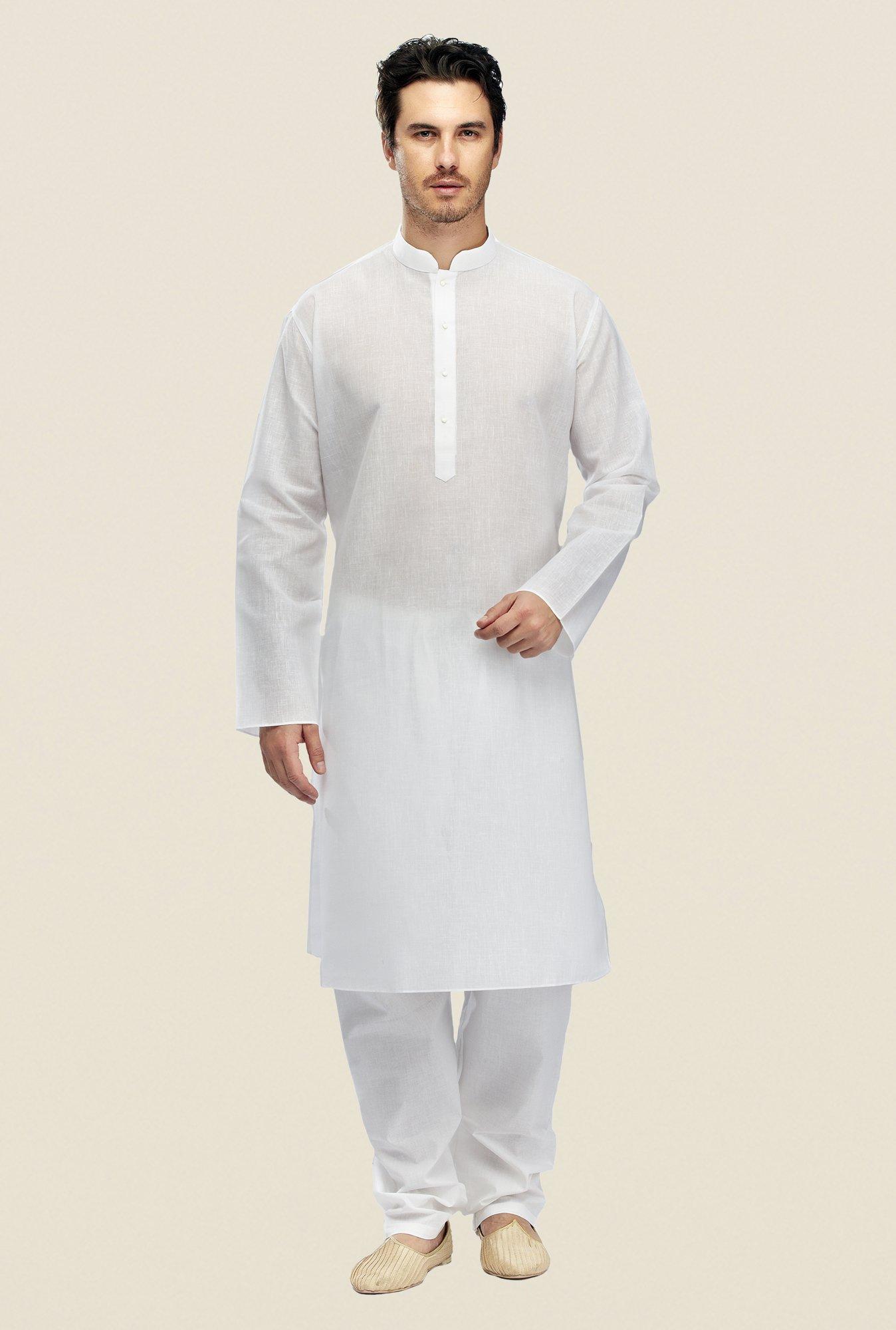 471b685909 Buy Manyavar White Textured Kurta & Pyjama Set For Men Online At Tata CLiQ
