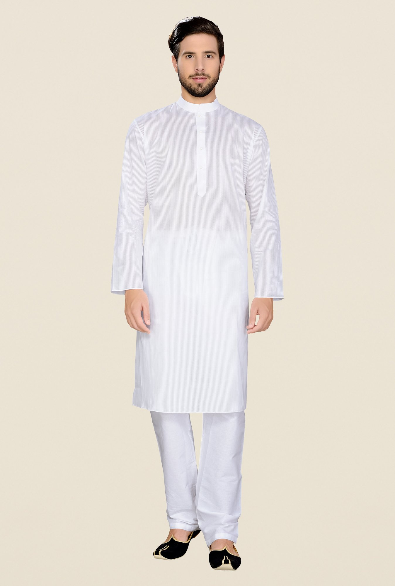 Manyavar White Striped Kurta & Pyjama Set