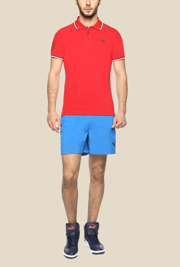 Puma EARL Red Solid Polo T Shirt