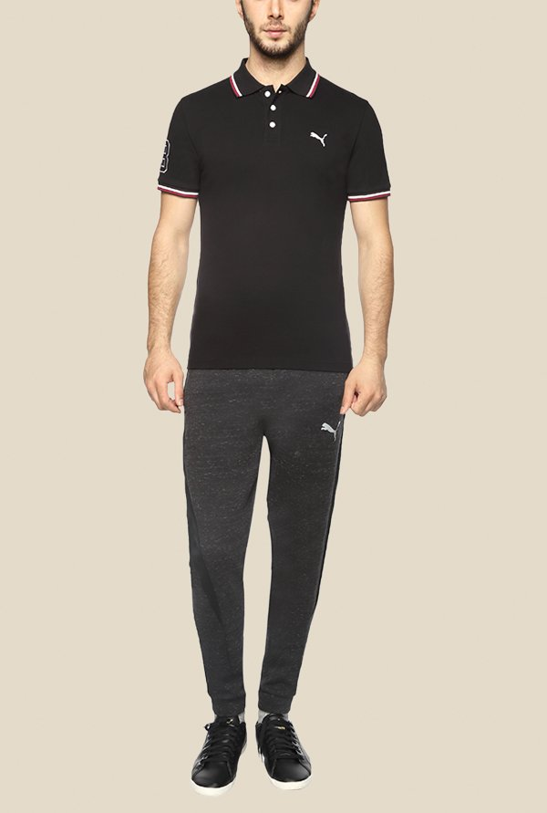 Puma EARL Black Solid Polo T Shirt