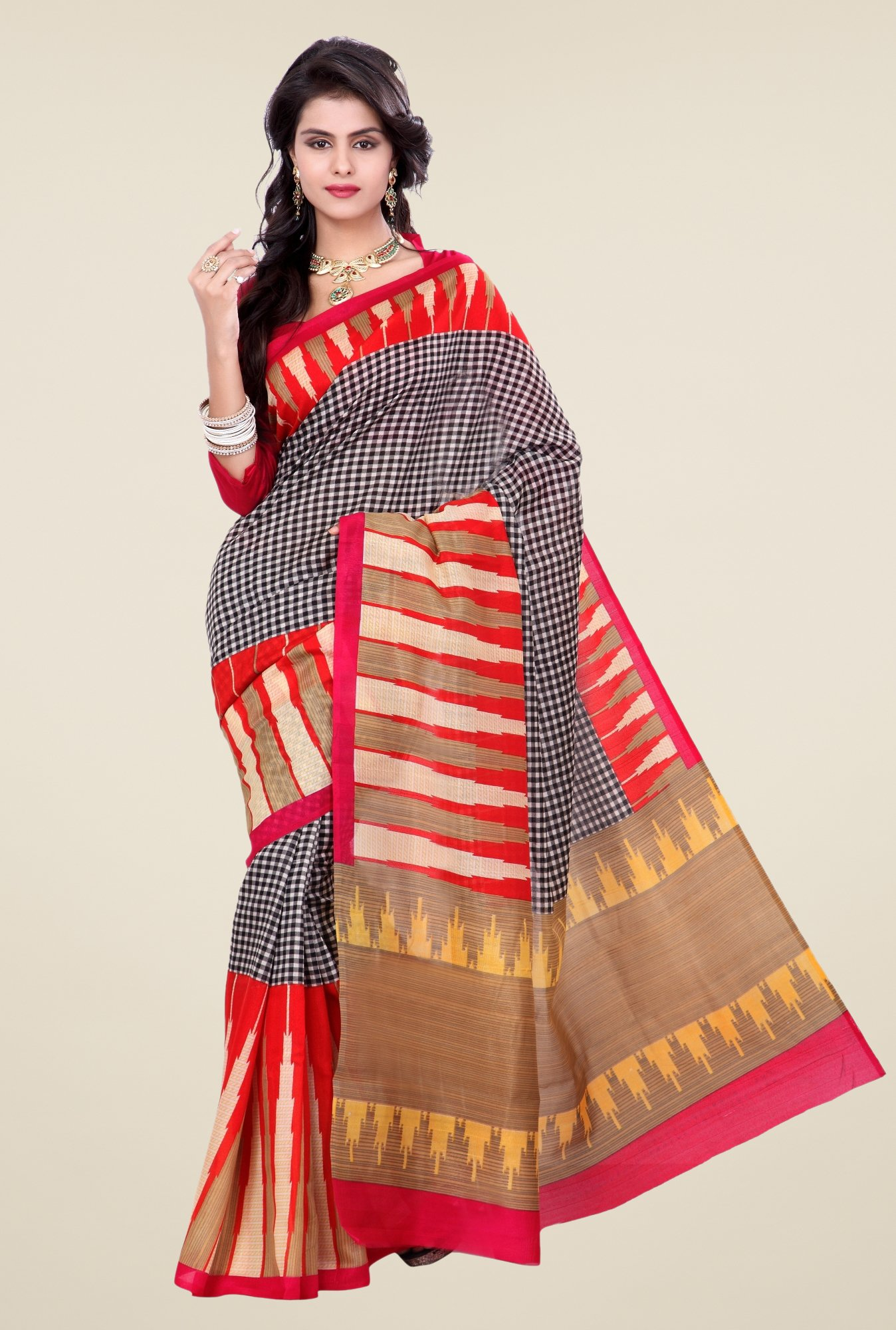 Triveni Multicolor Checks Art Silk Saree