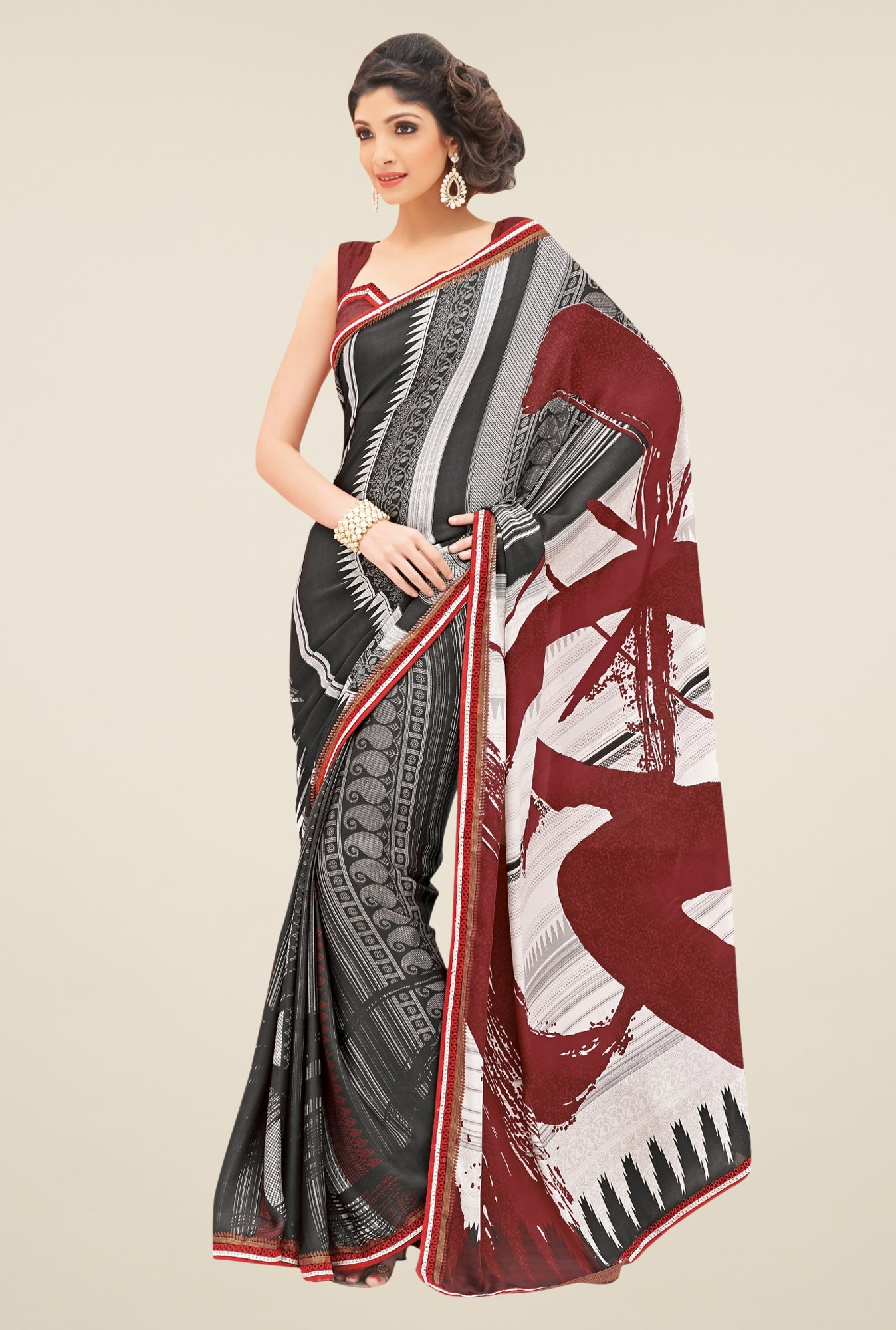 Triveni Black Printed Satin Saree