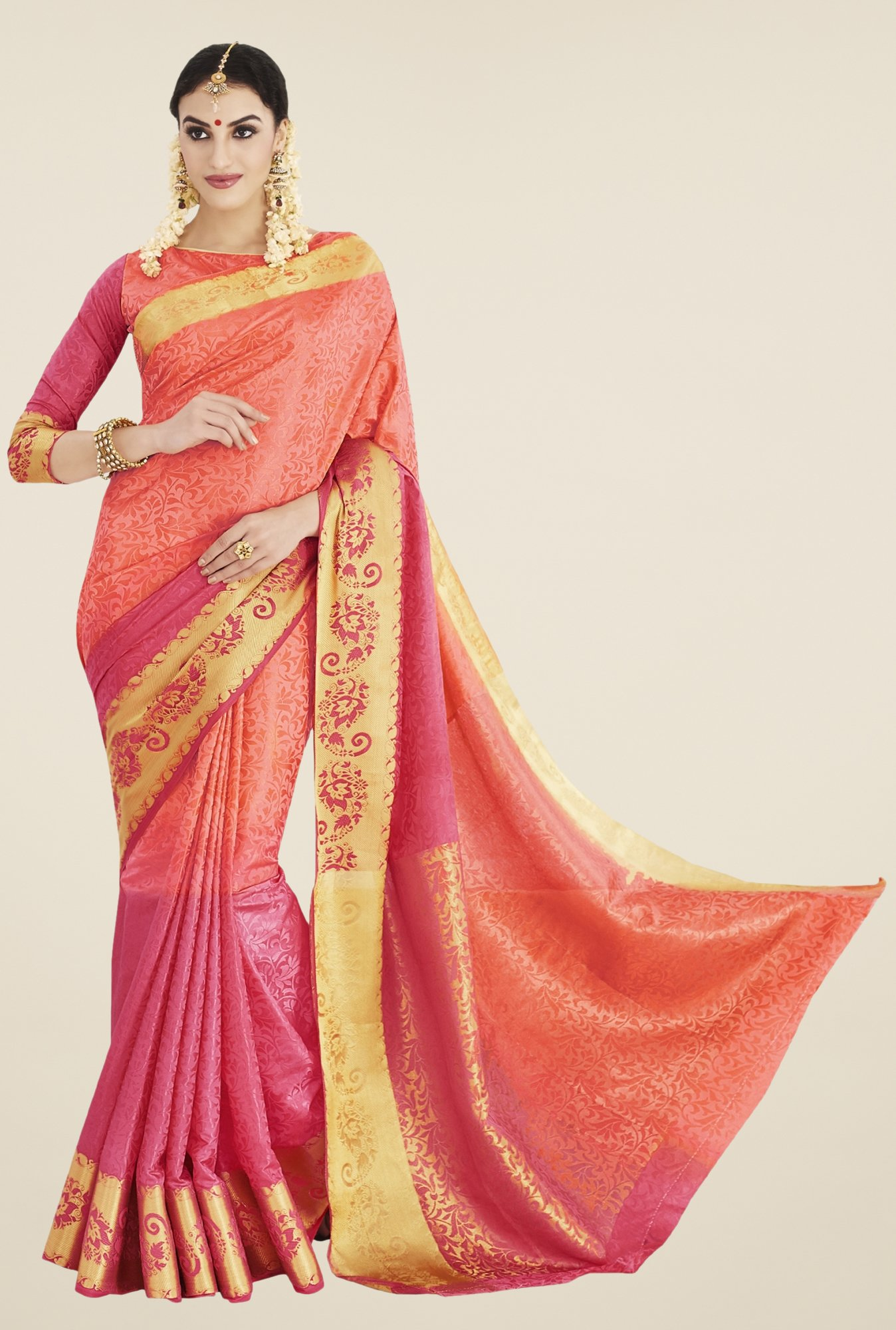 Triveni Orange & Maroon Printed Banarasi Silk Saree