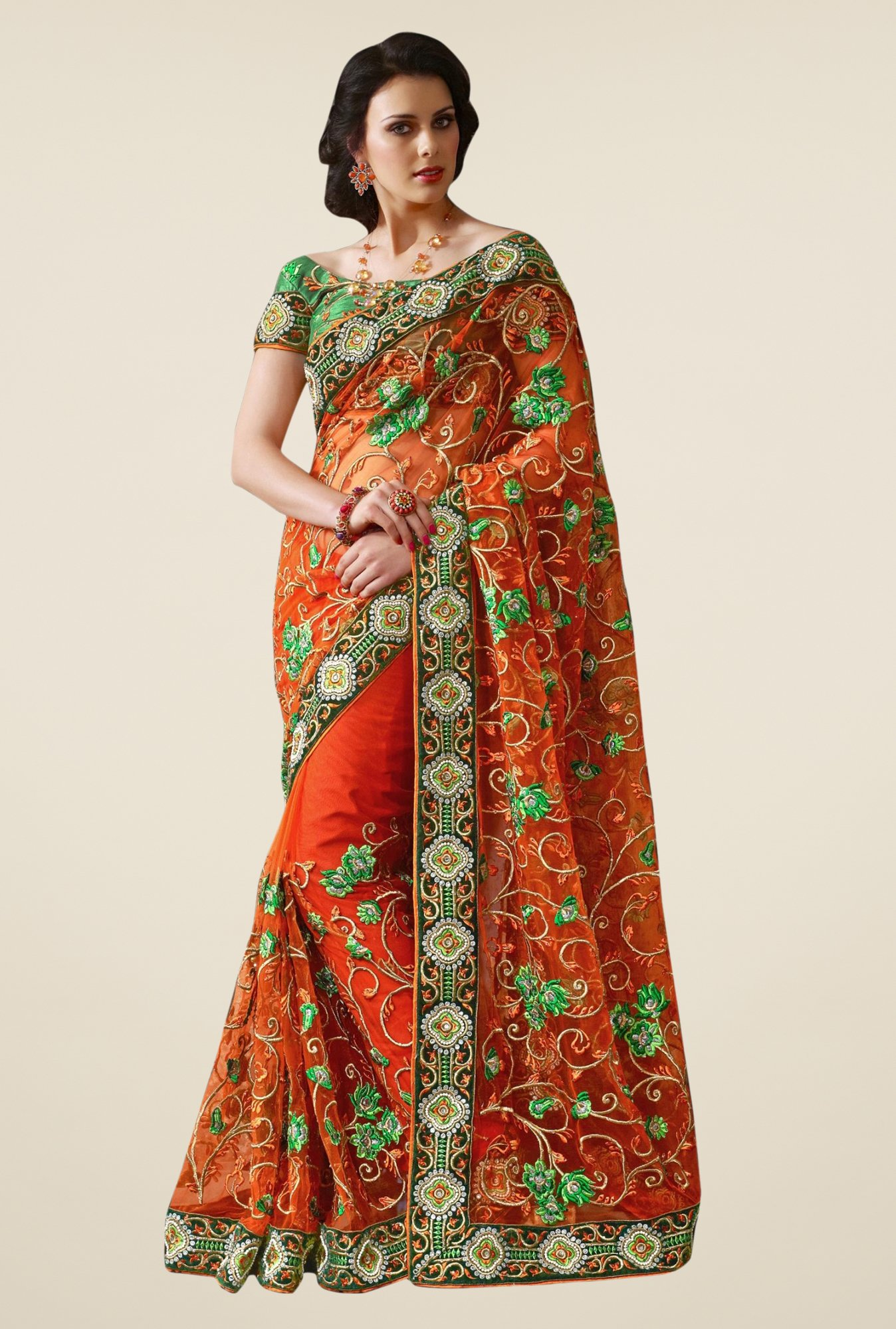 Triveni Orange Embroidered Net Saree