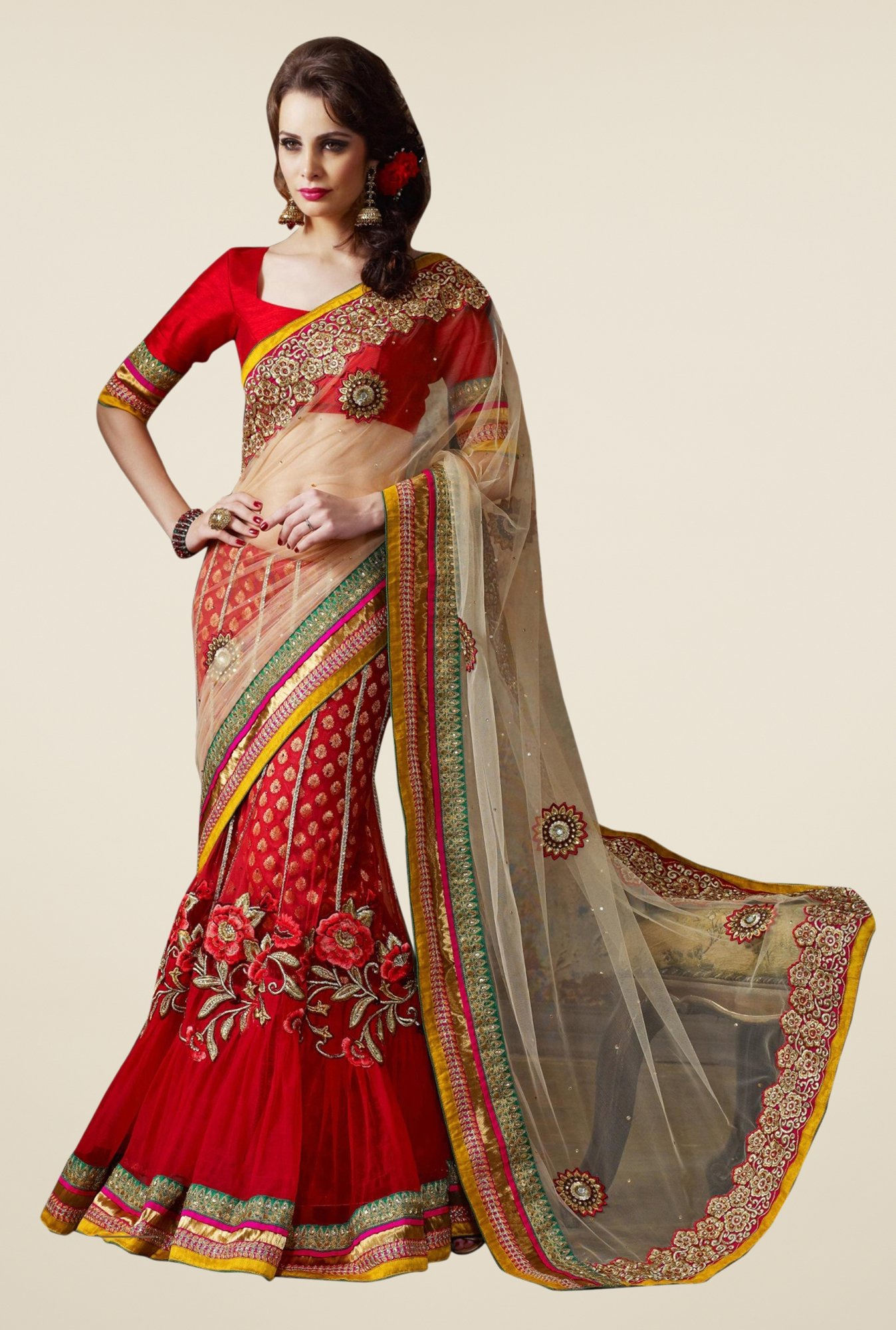 Triveni Red Embroidered Net Viscose Lehenga Saree