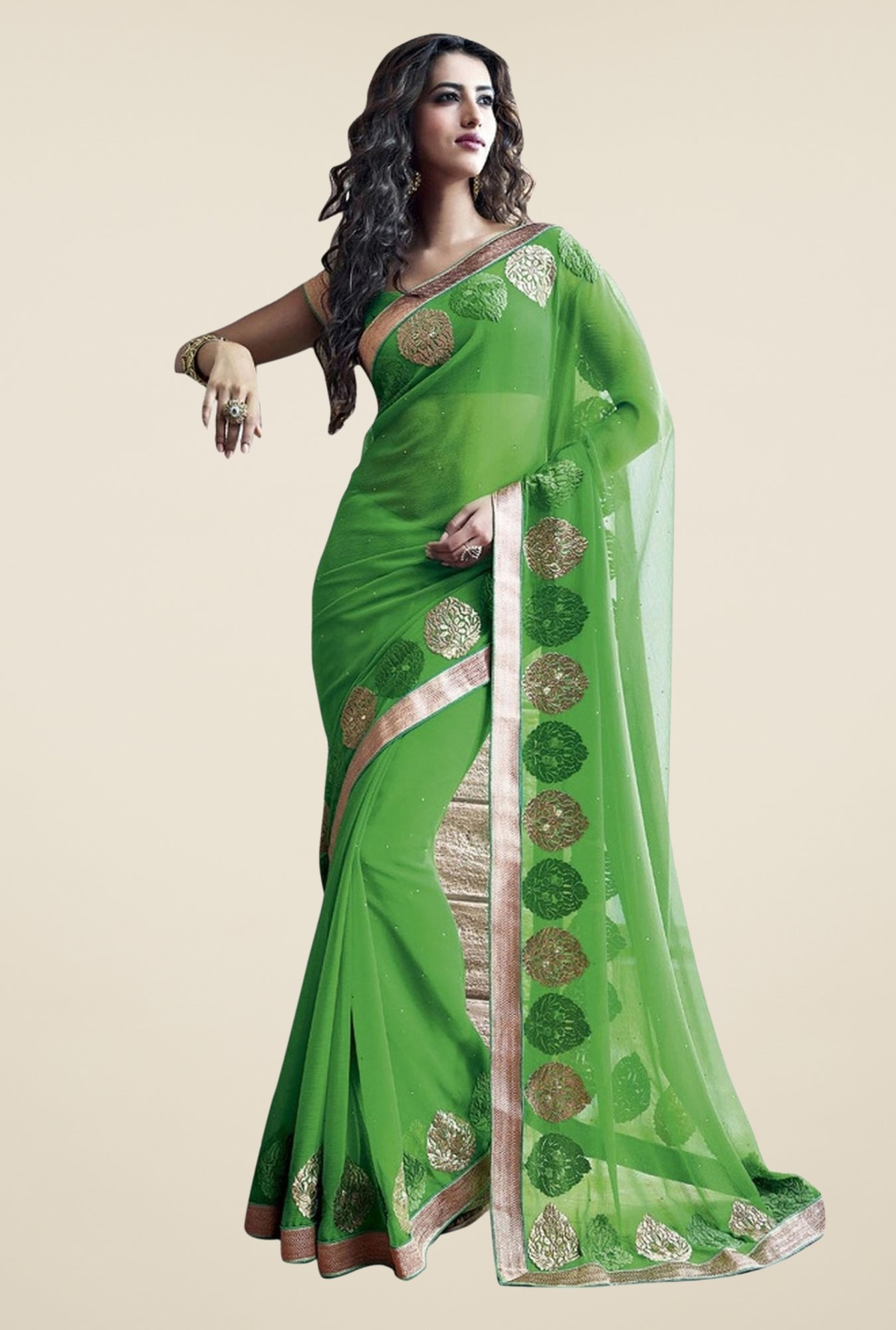 Triveni Green Embroidered Chiffon Saree