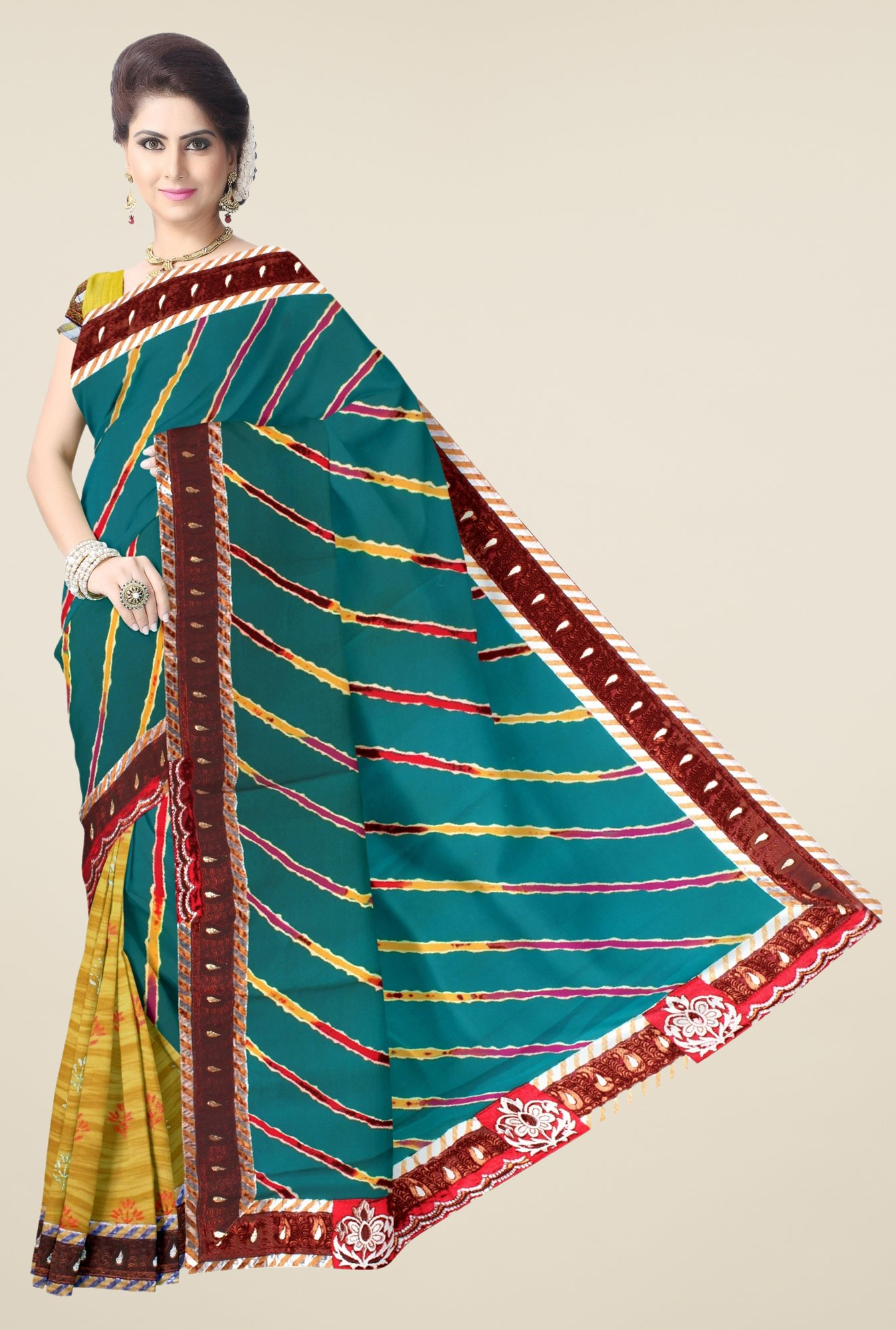 Triveni Yellow & Green Printed Faux Georgette Saree