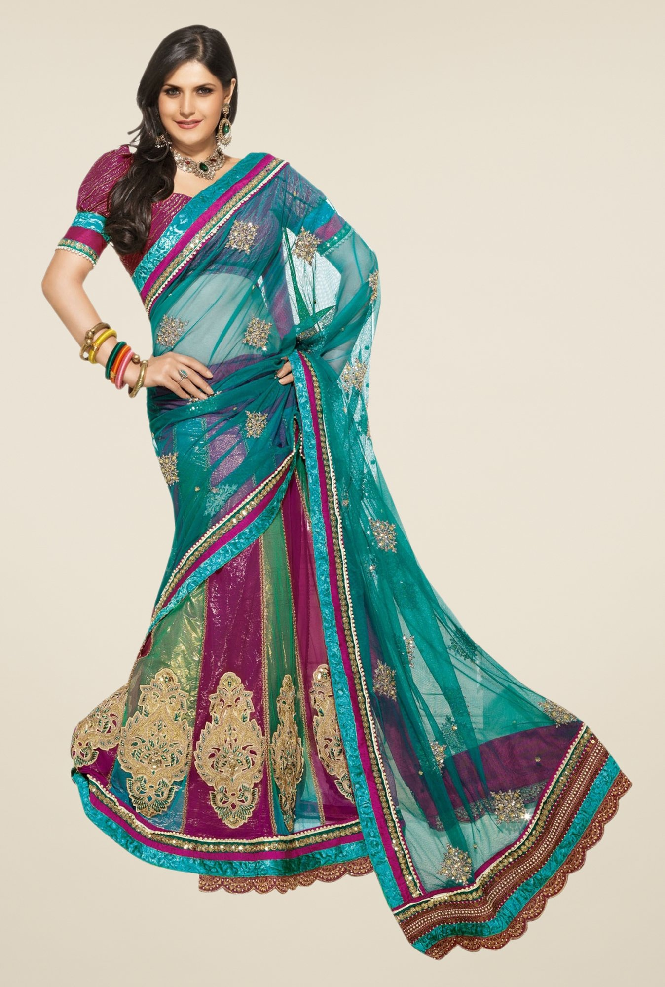 Triveni Multicolor Embroidered Net Lehenga Saree