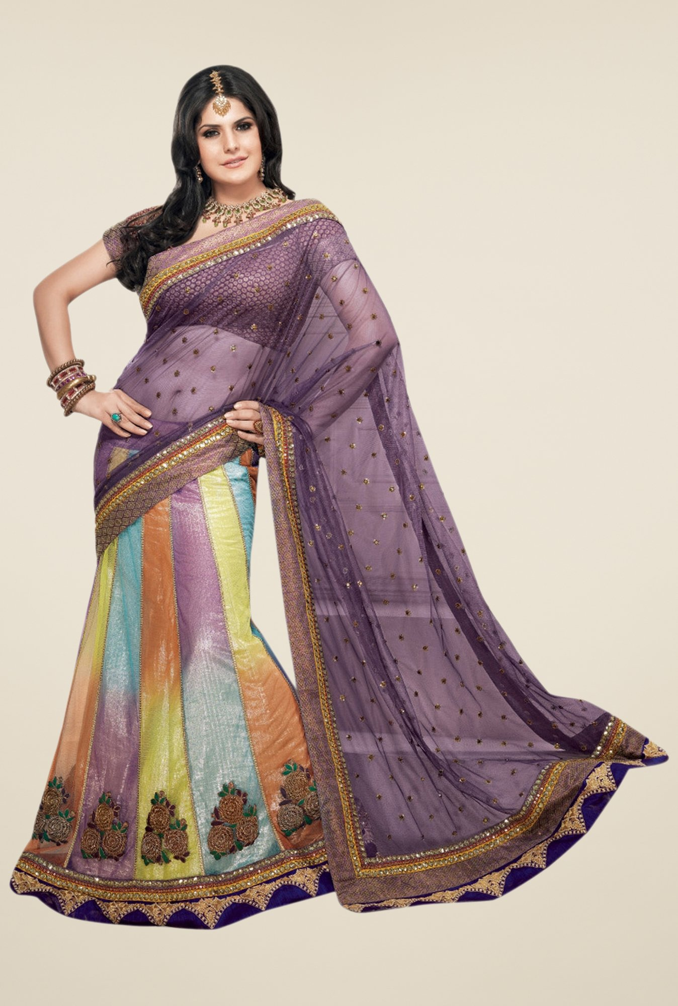 Triveni Multicolor Embroidered Net Shimmer Lehenga Saree