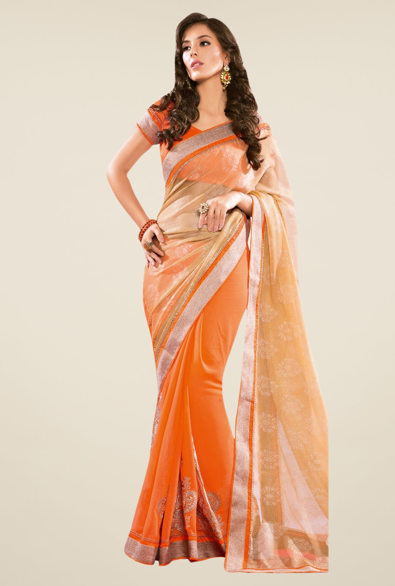 Triveni Orange Printed Chiffon Saree