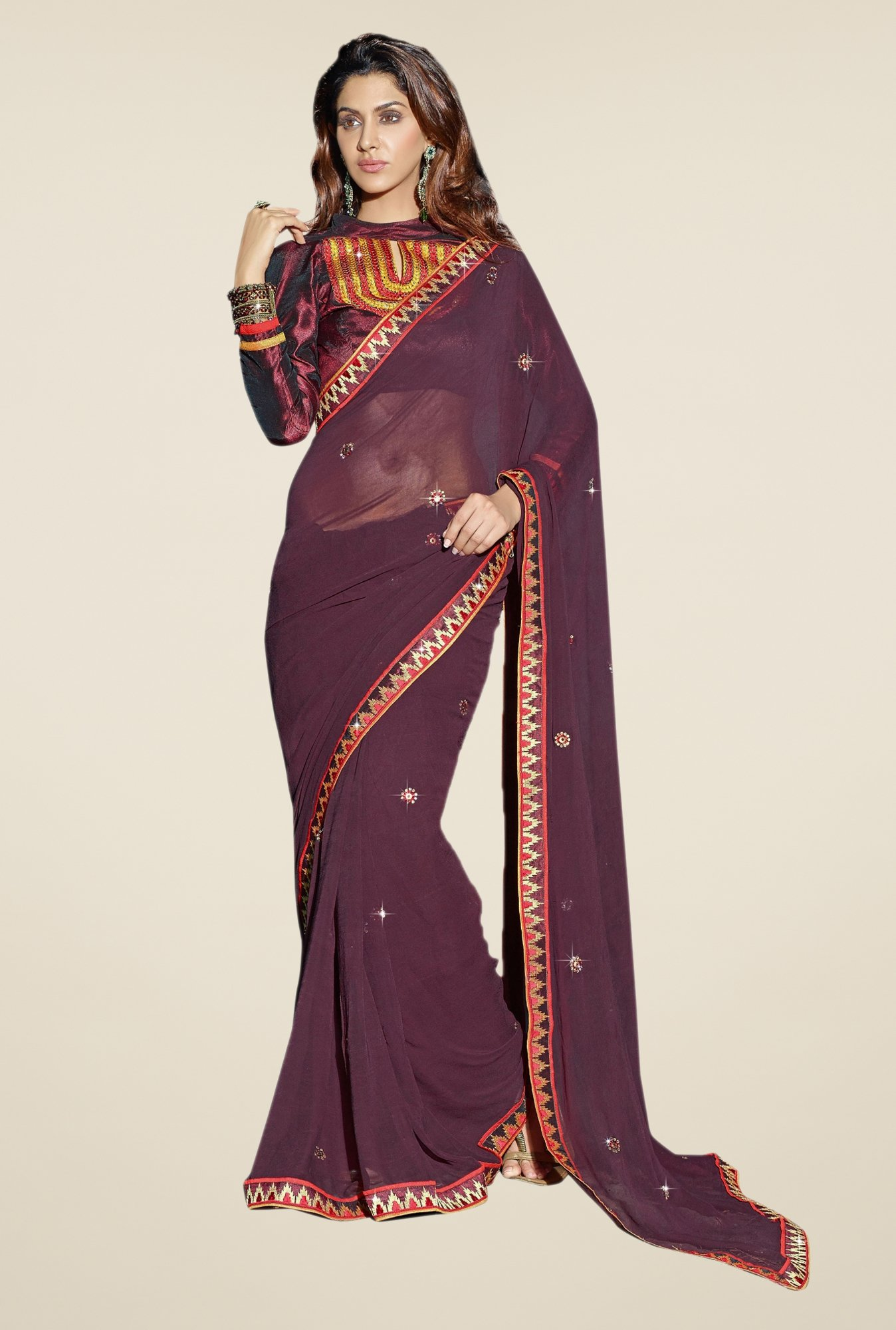 Triveni Purple Solid Faux Georgette Dry Clean Saree