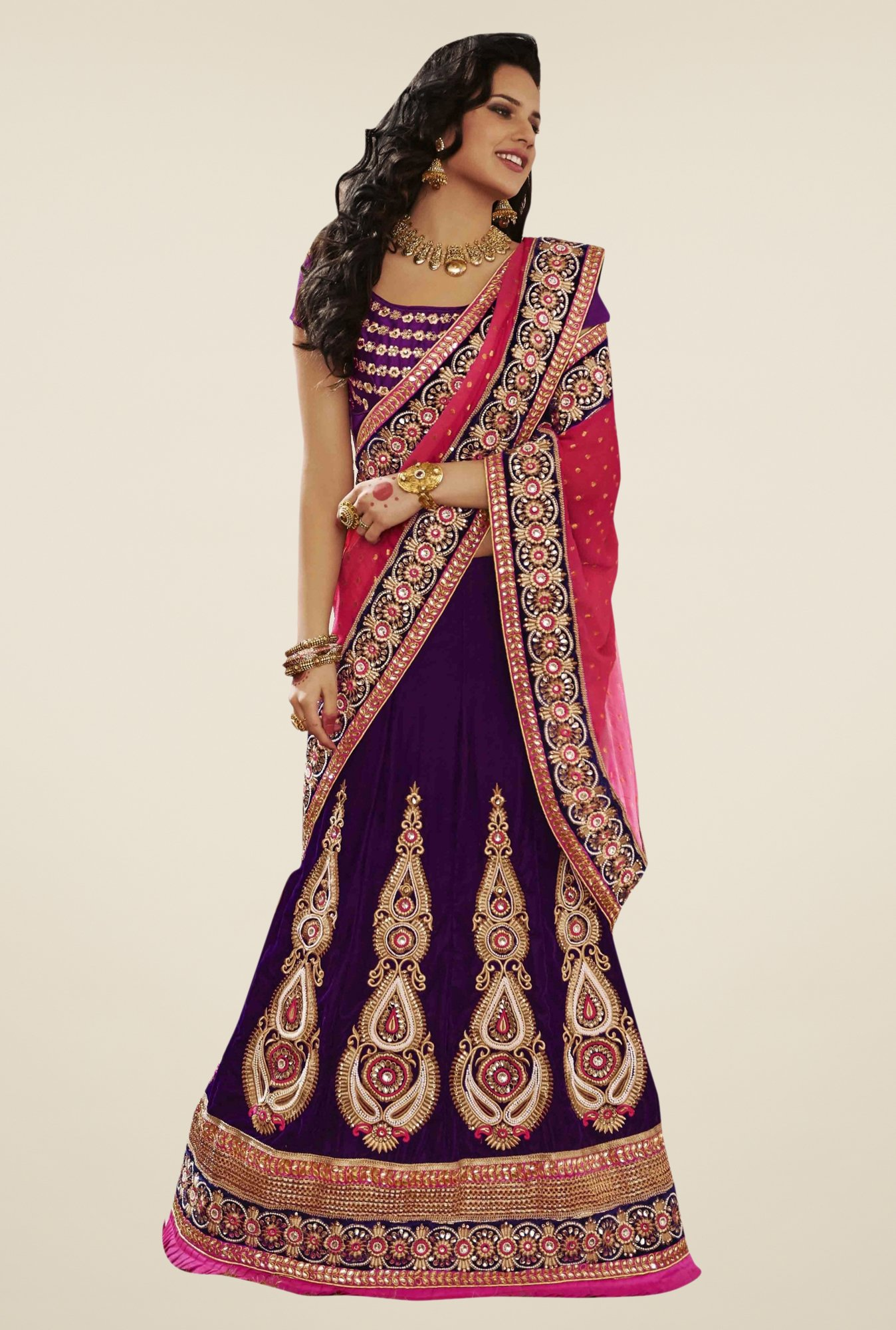 Triveni Purple & Pink Embroidered Velvet Lehenga Saree