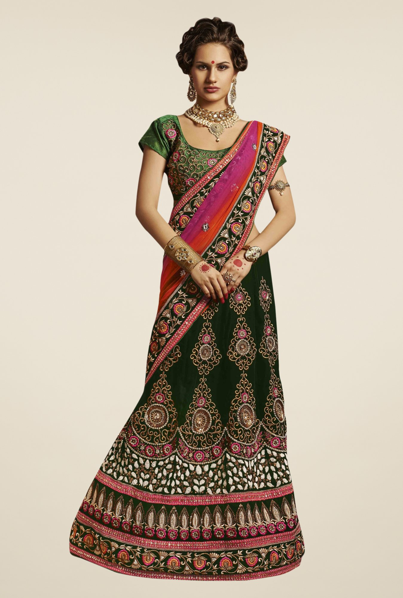 Triveni Black & Pink Embroidered Net Velvet Lehenga Saree