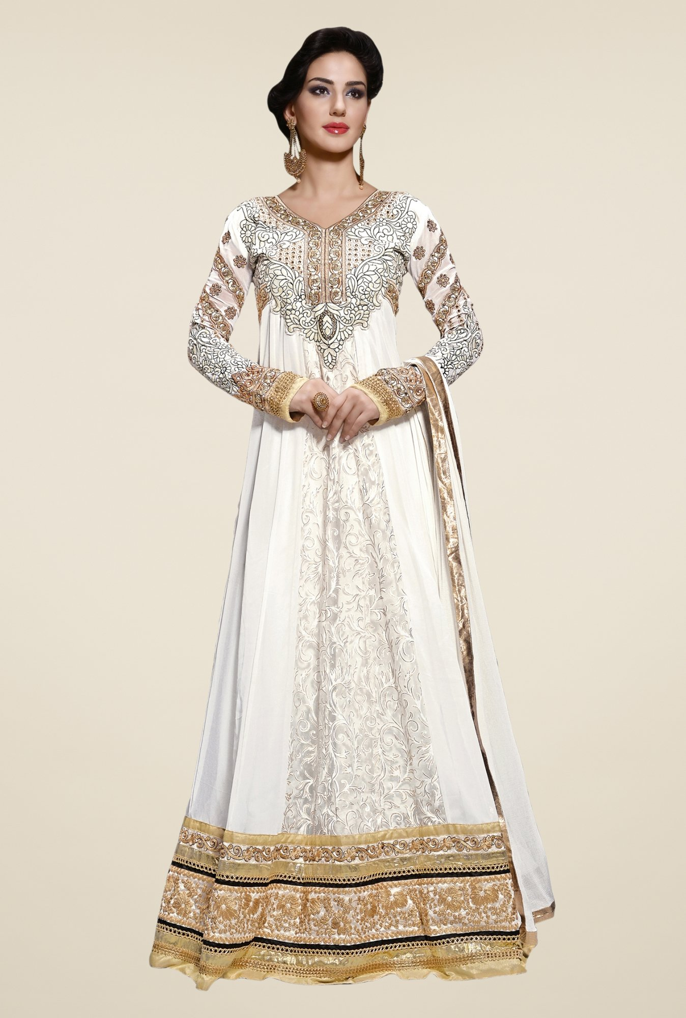 Triveni Off White Embellished Dress Material