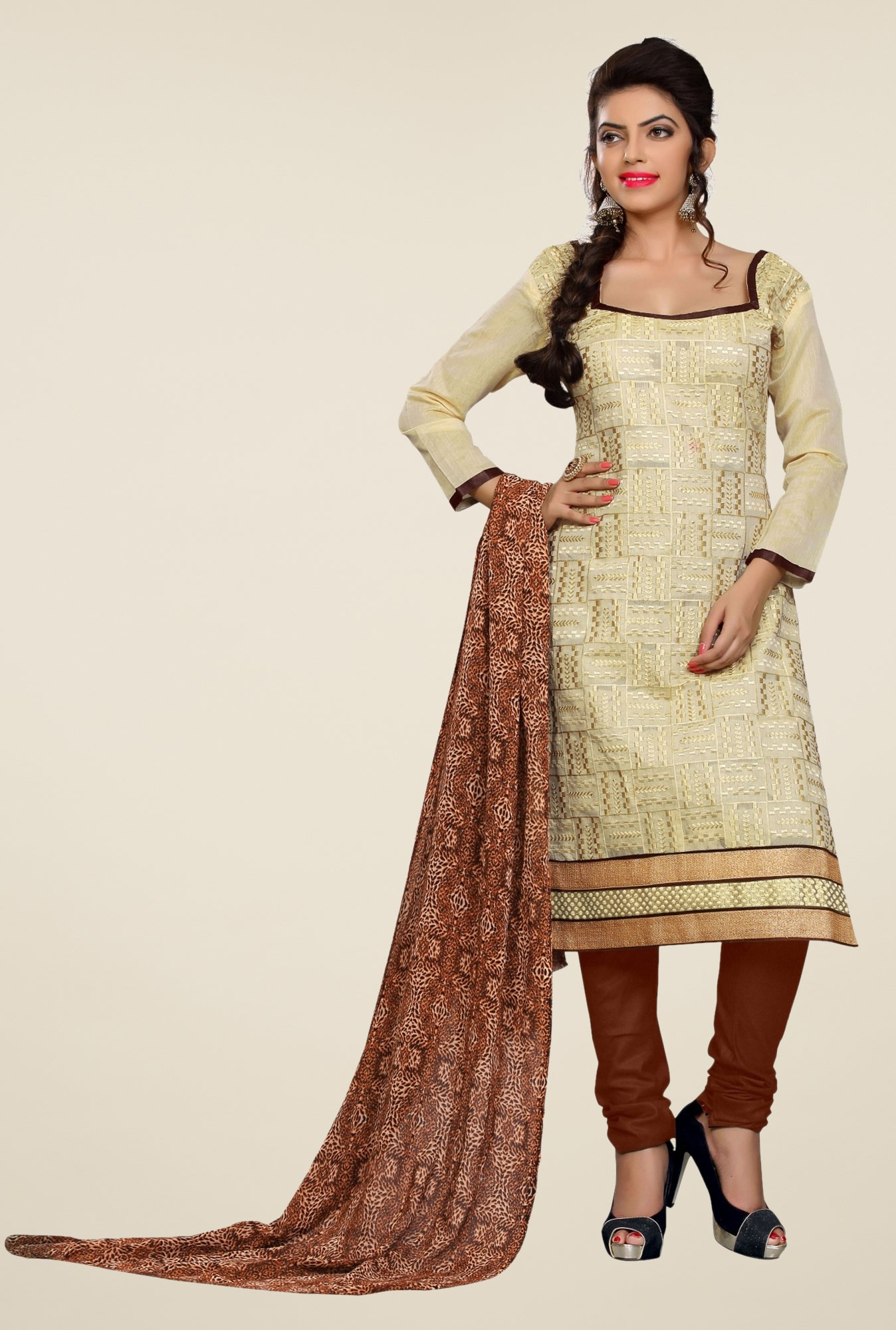 Triveni Beige Embellished Dress Material