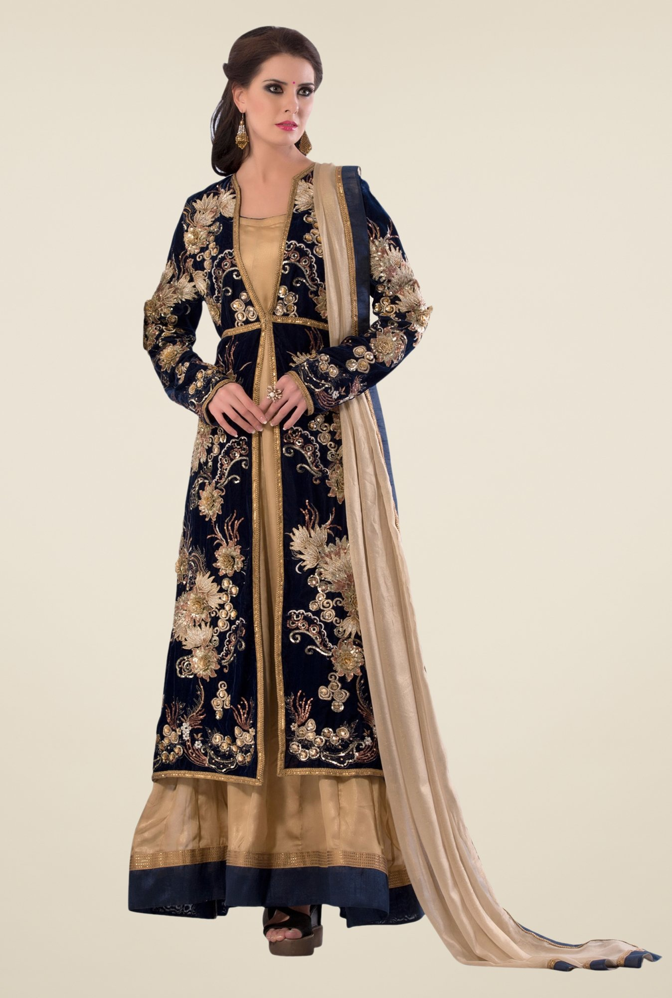 Triveni Black & Beige Embellished Dress Material