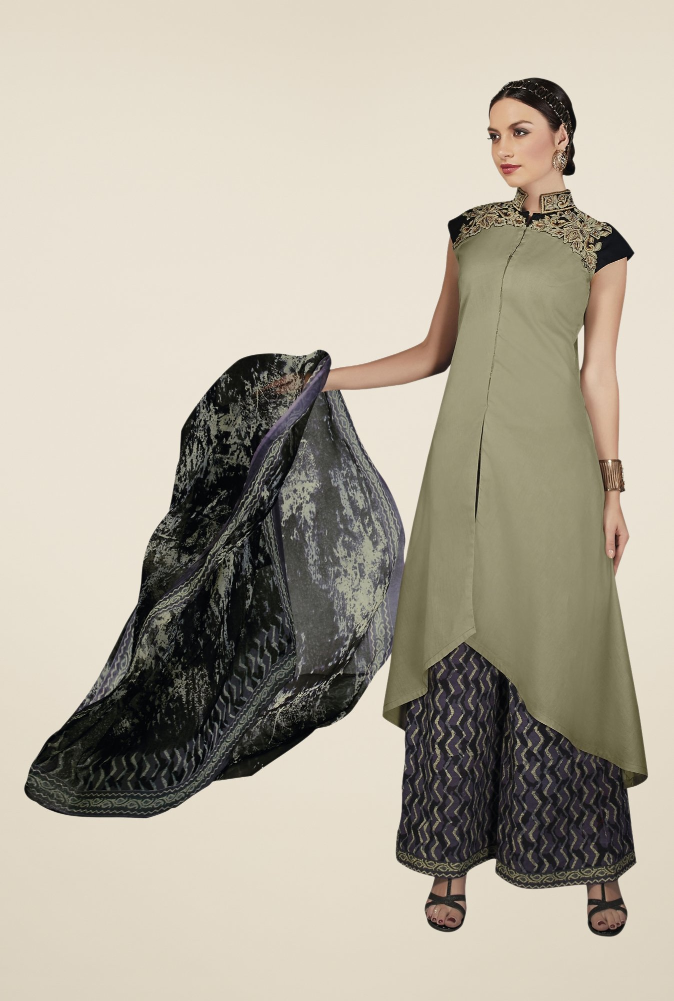 Triveni Green Embellished Dress Material