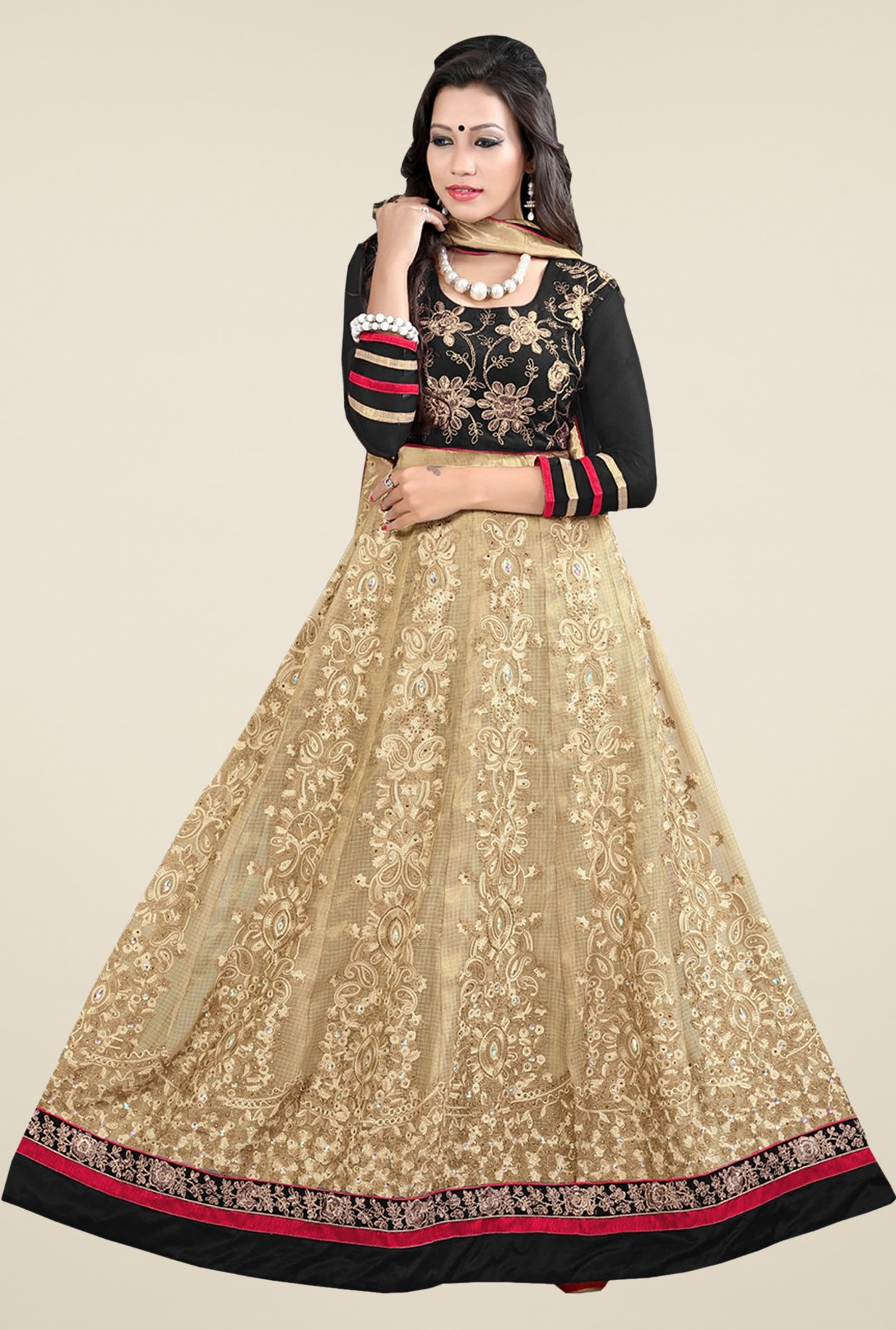 Triveni Beige & Black Embroidered Salwar Kameez
