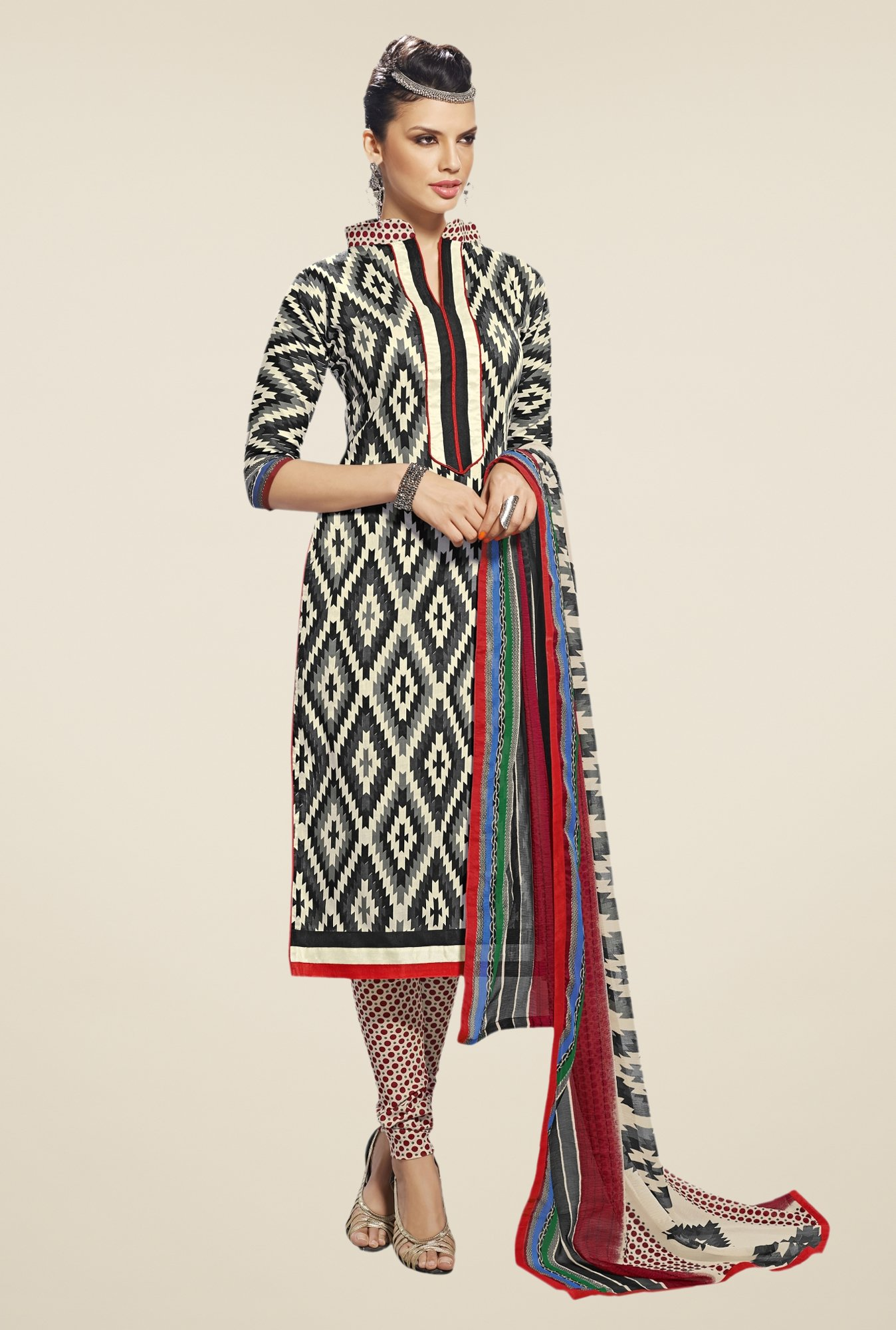 Triveni Black & Beige Printed Dress Material
