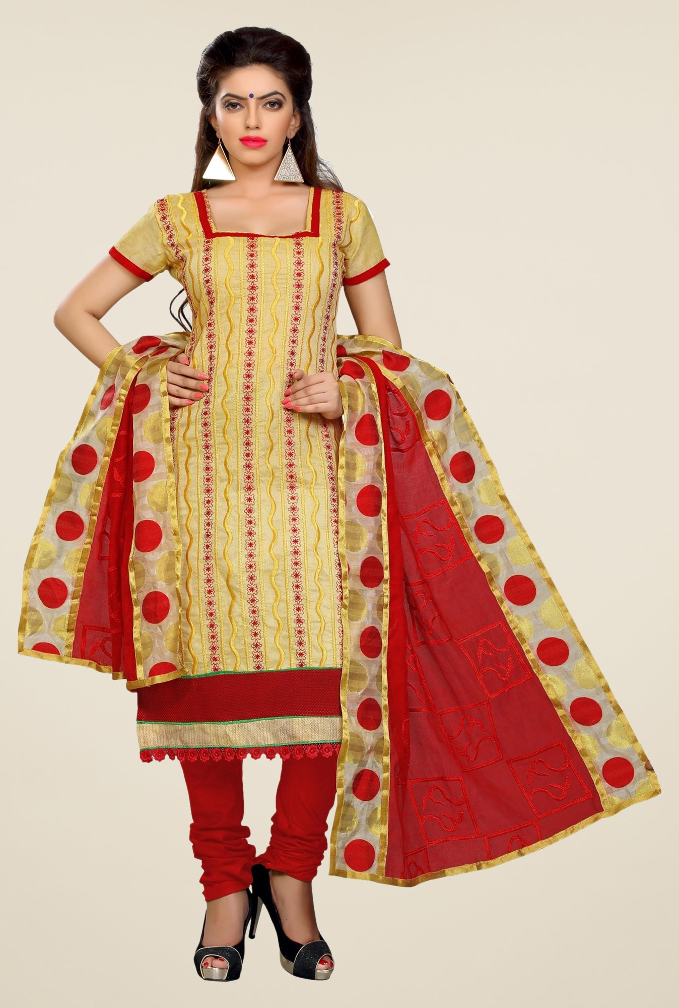 Triveni Yellow & Red Embroidered Dress Material