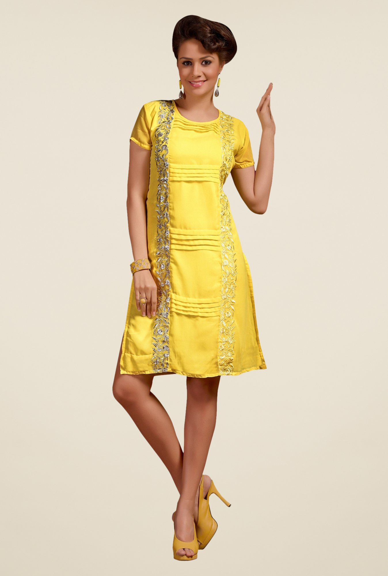 Triveni Yellow Embroidered Round Neck Kurti