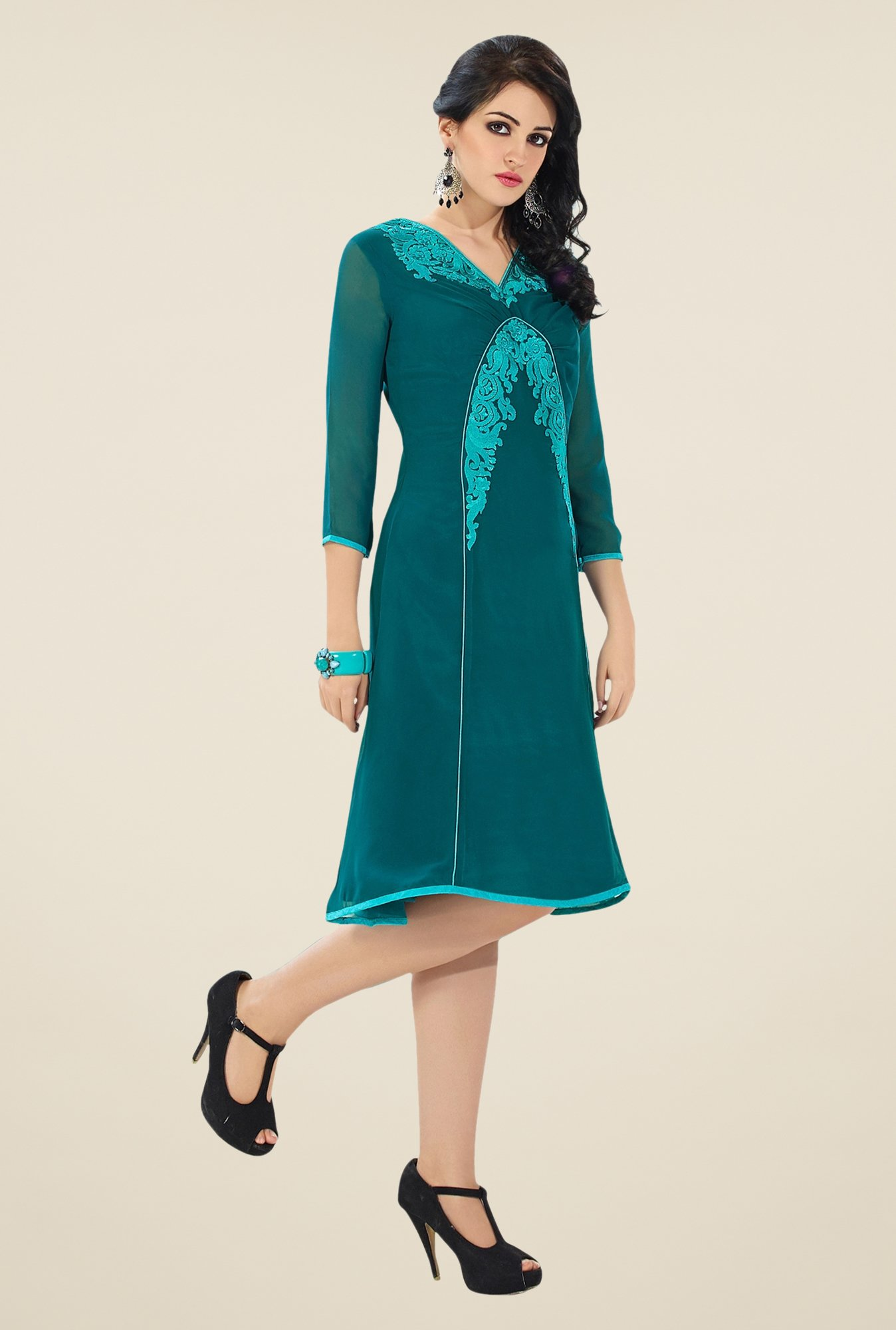 Triveni Teal Embroidered Kurti