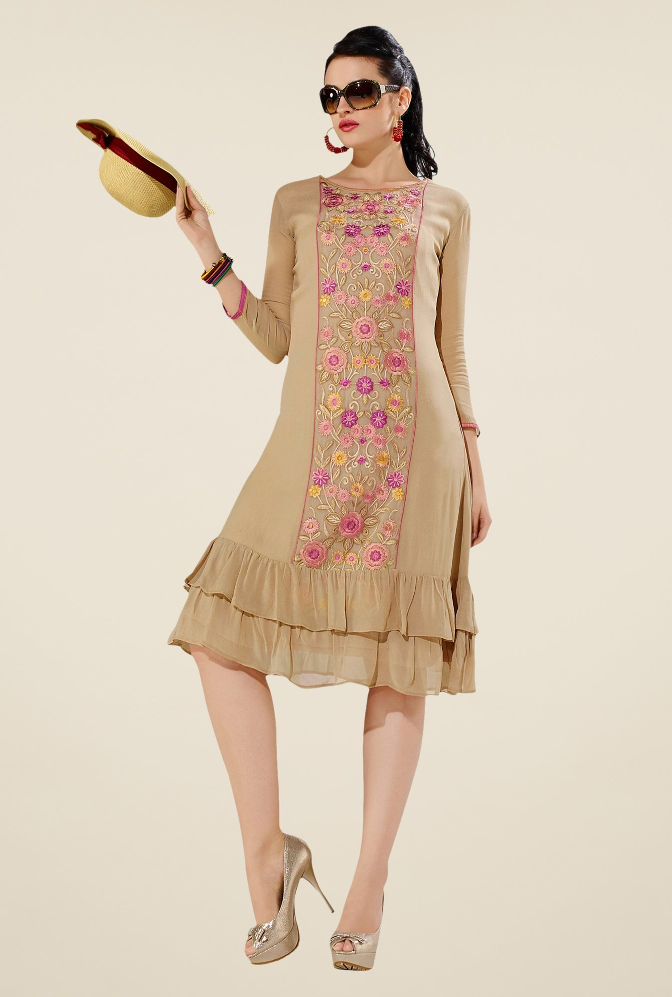 Triveni Beige Embroidered Kurti