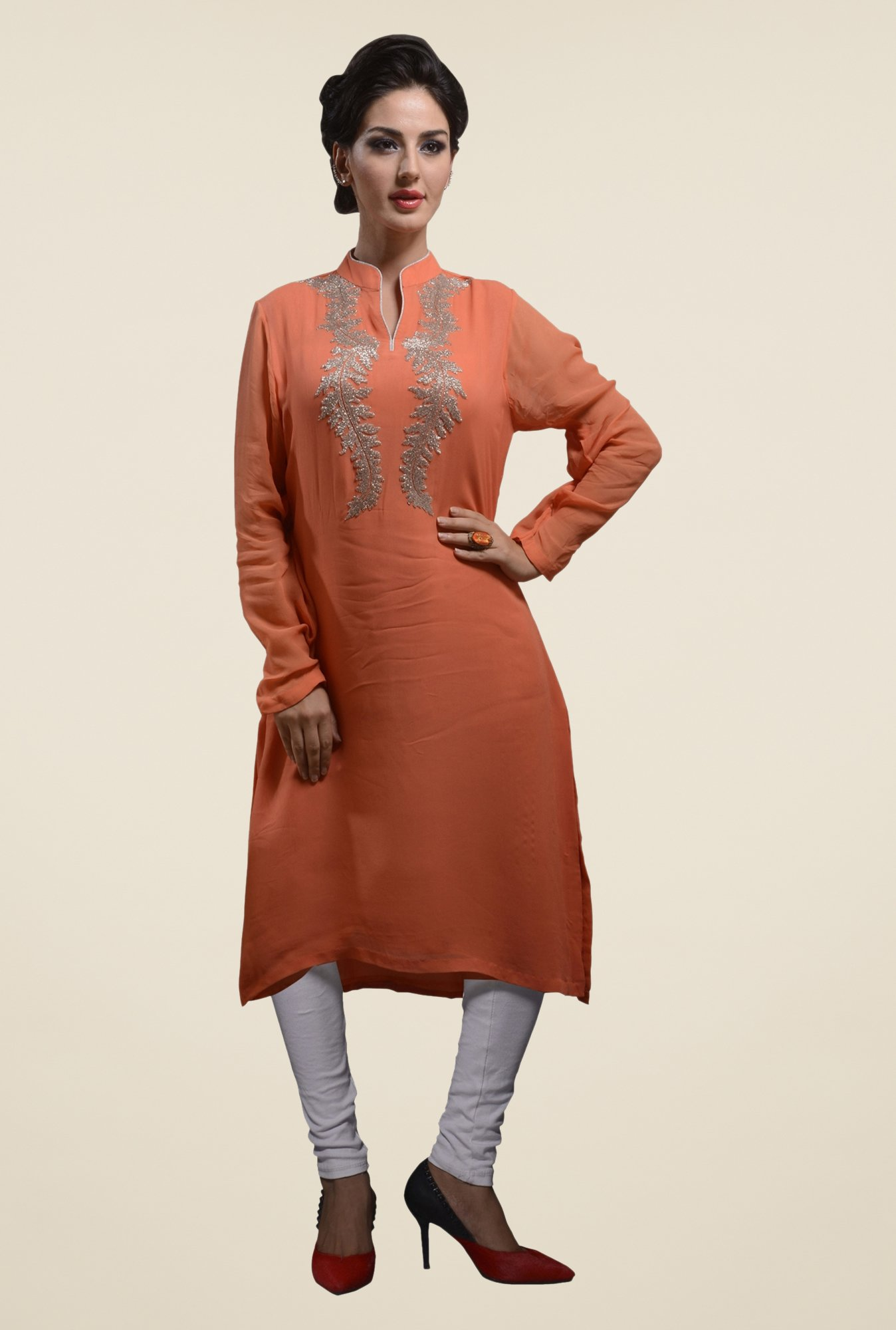 Triveni Orange Embellished Kurta