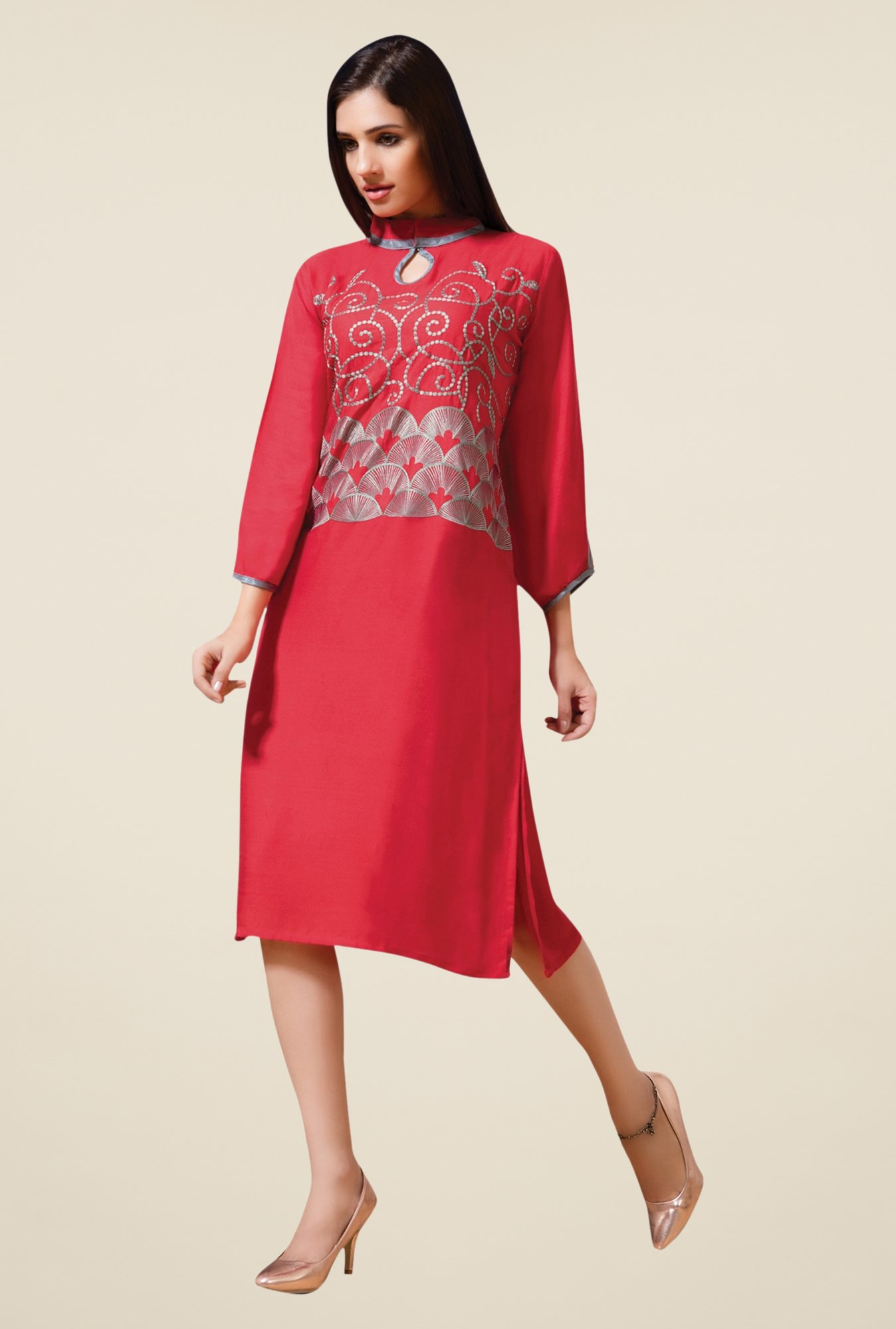 Triveni Red Embellished Kurta
