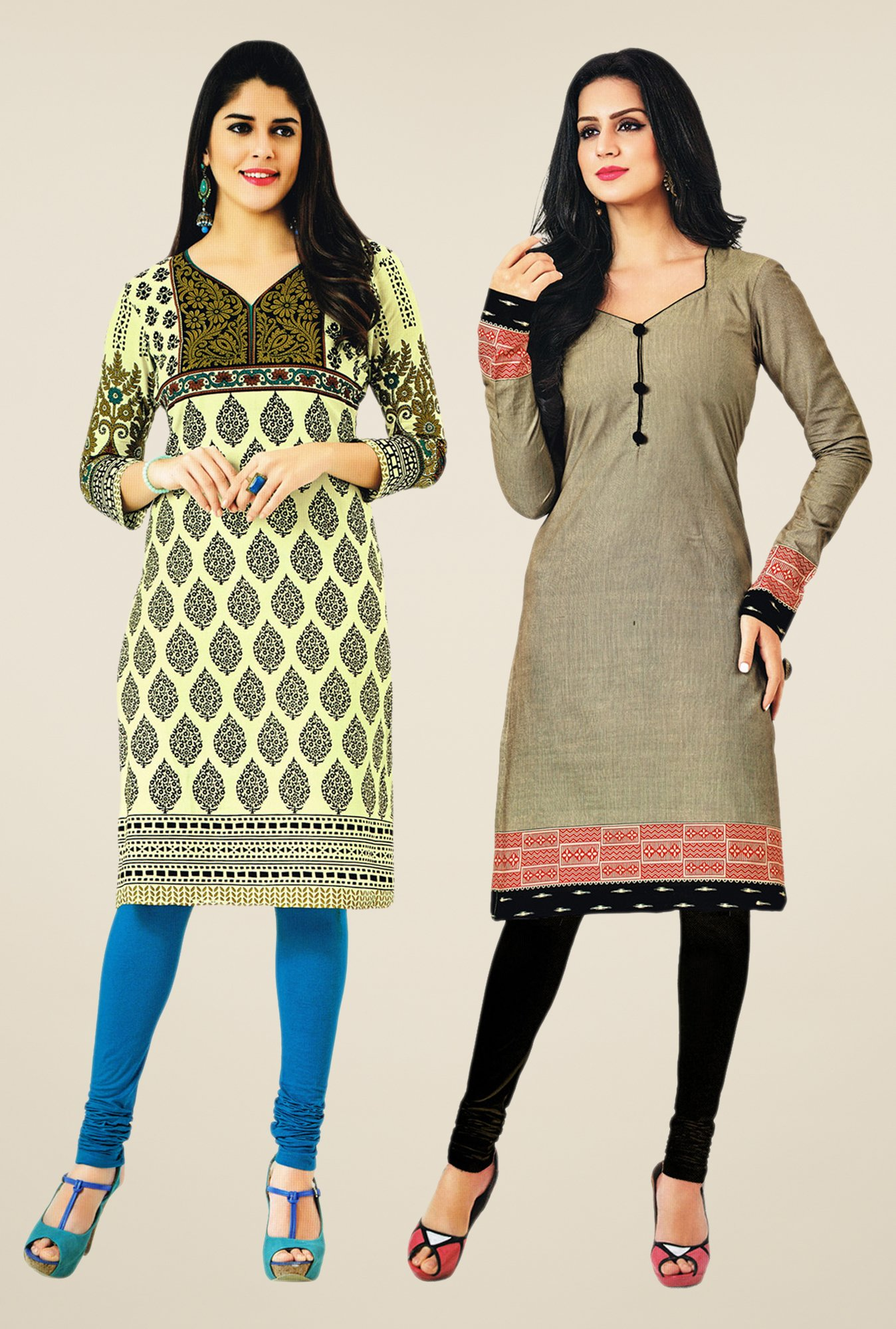 Salwar Studio Cream & Grey Kurtis (Pack Of 2)