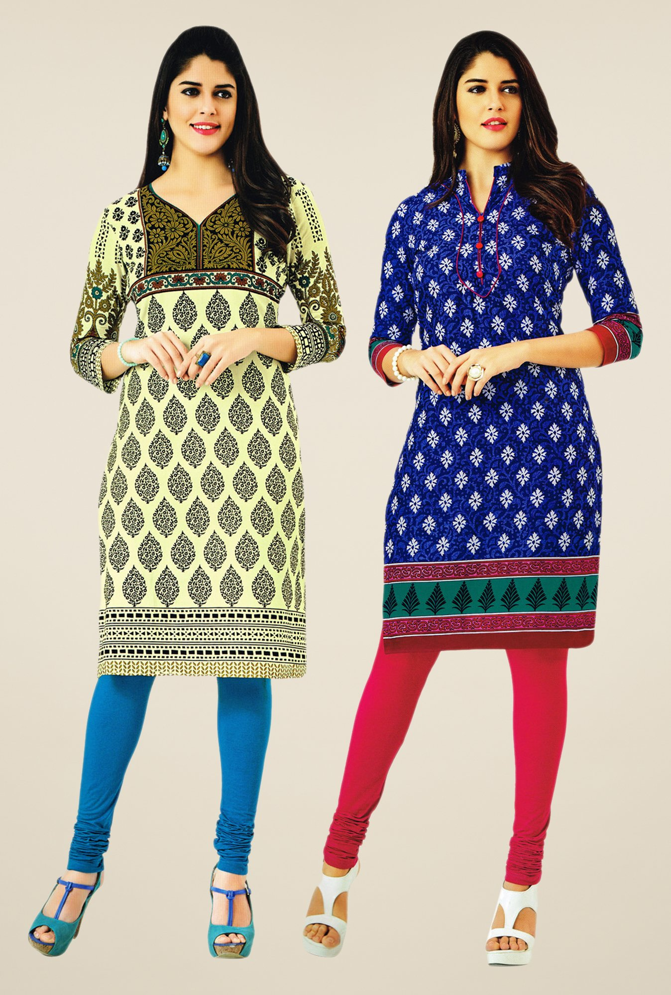 Salwar Studio Cream & Blue Kurtis (Pack Of 2)