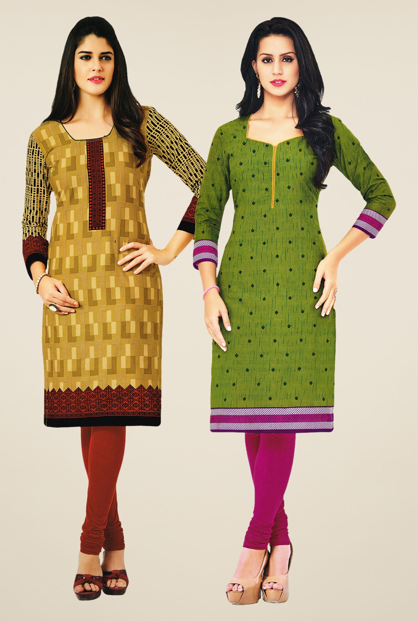 Salwar Studio Mustard & Green Kurtis (Pack Of 2)