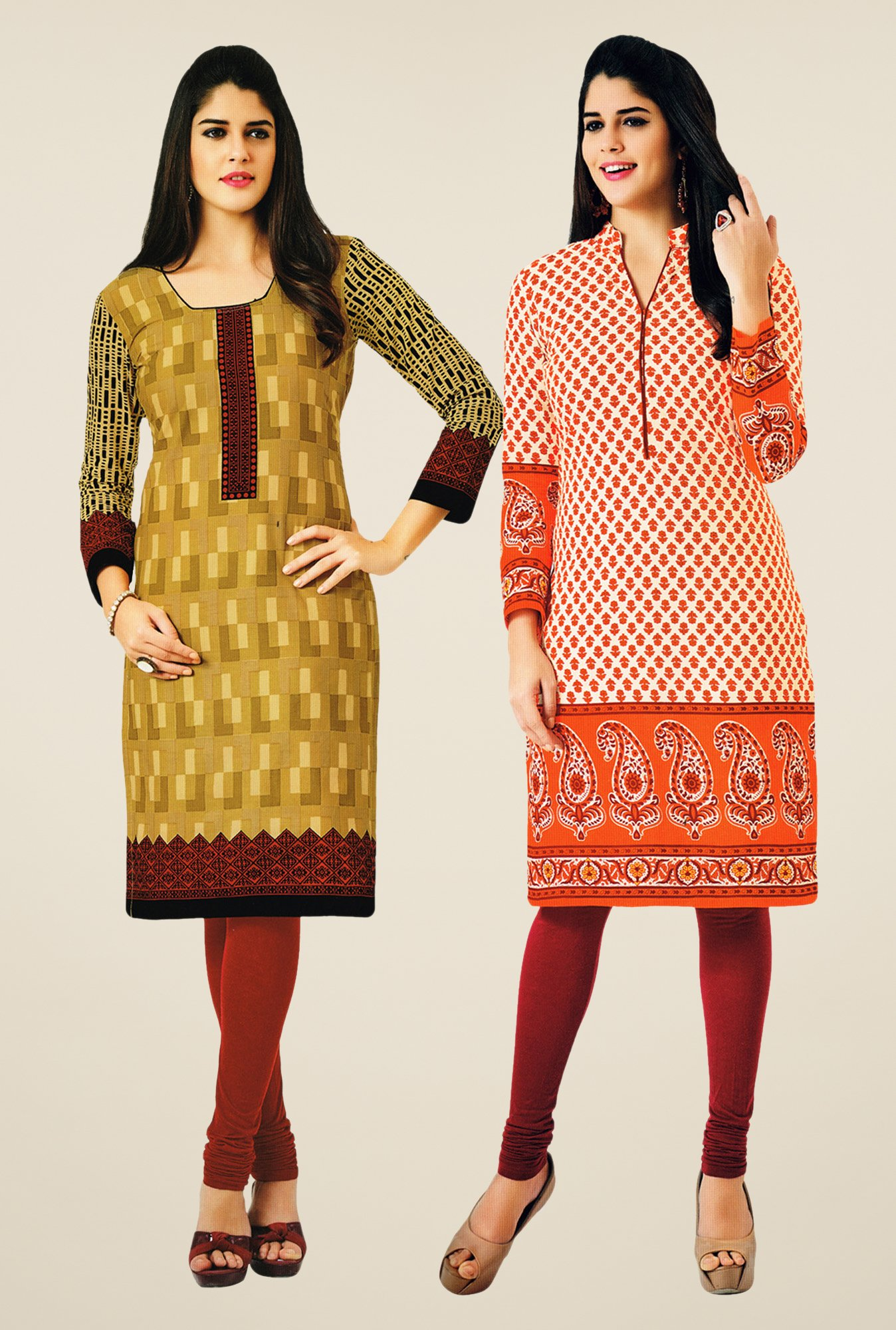 Salwar Studio Mustard & Orange Kurtis (Pack Of 2)
