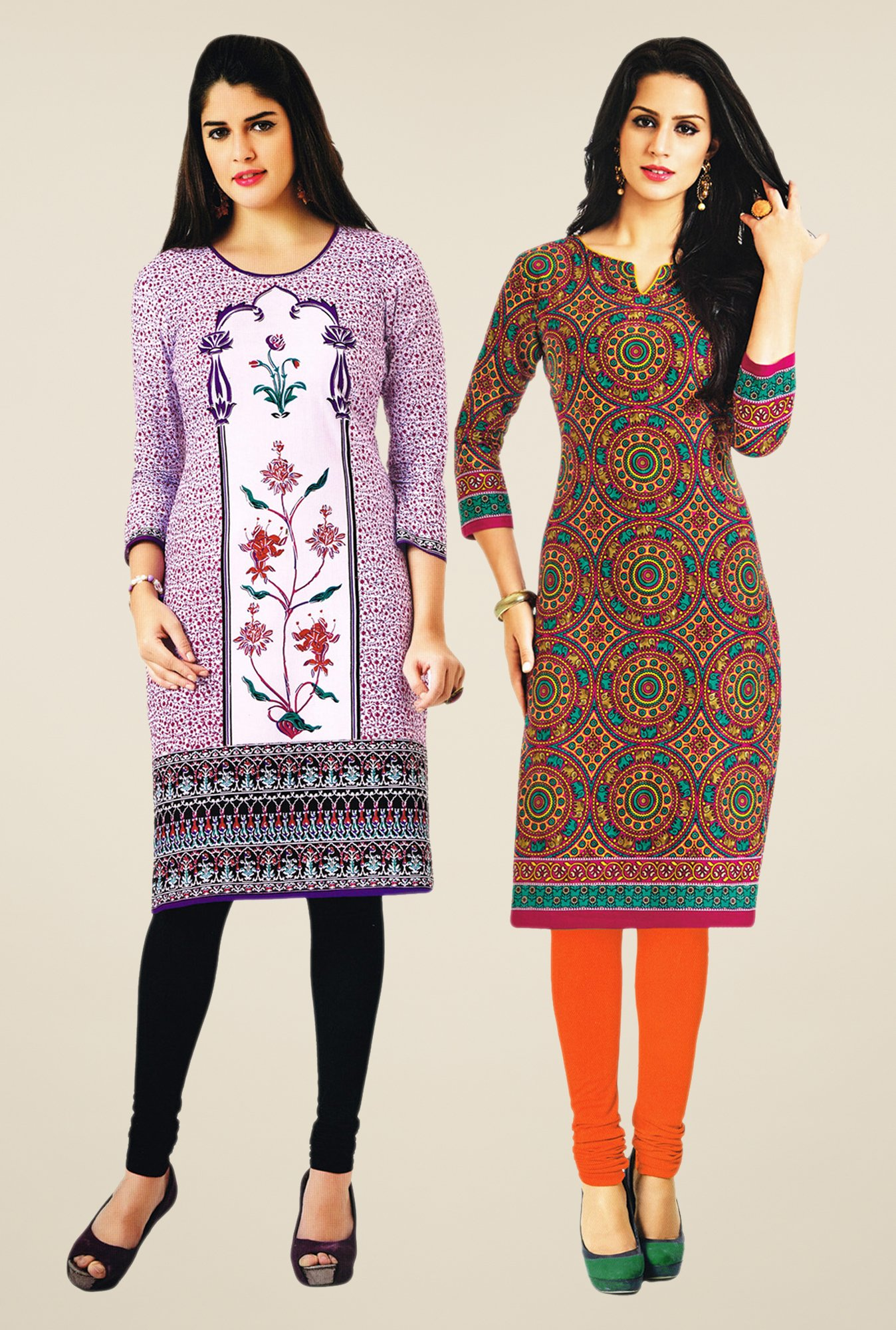 Salwar Studio Purple & Multicolor Kurtis (Pack Of 2)