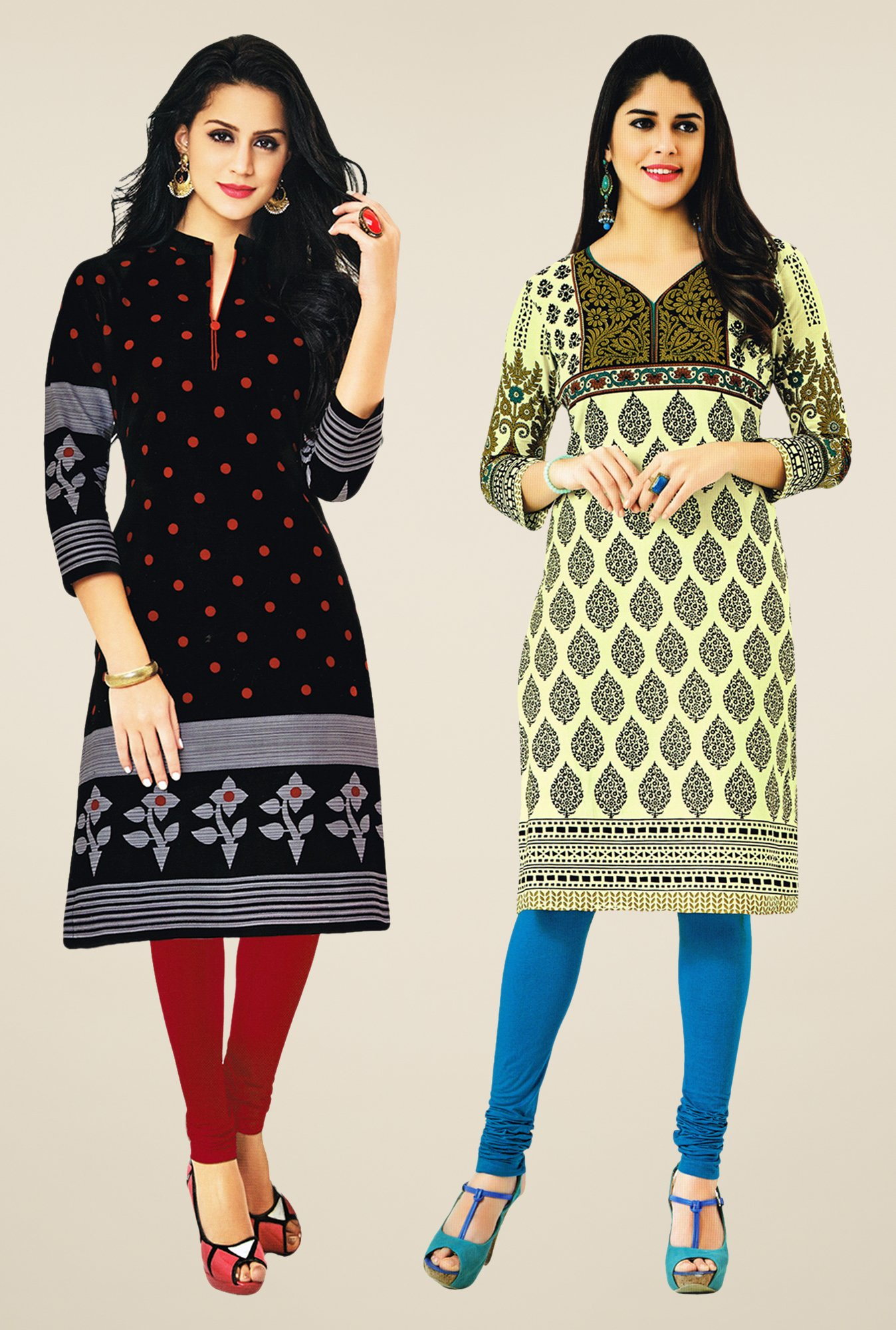 Salwar Studio Black & Olive Kurtis (Pack Of 2)
