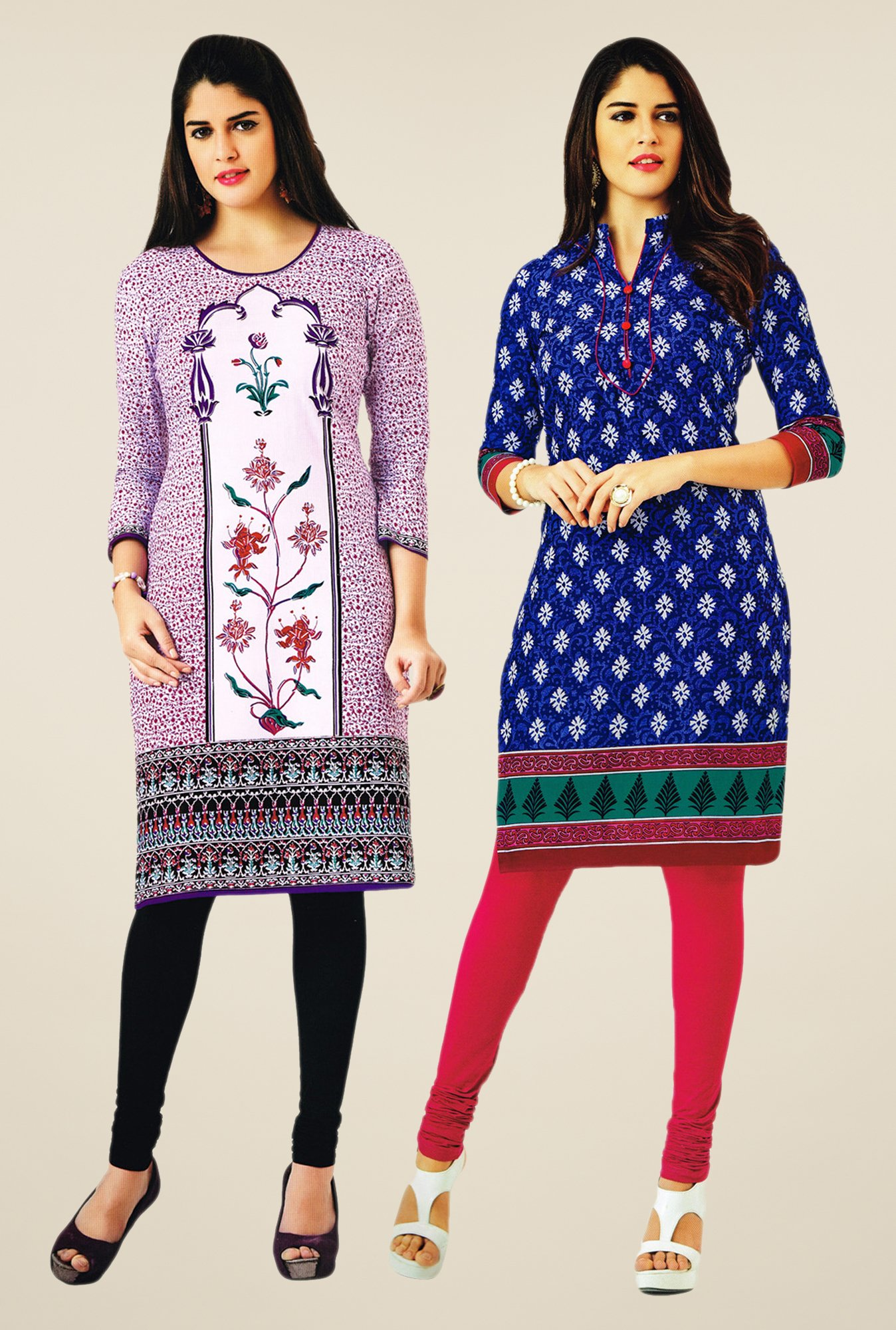 Salwar Studio Purple & Blue Kurtis (Pack Of 2)