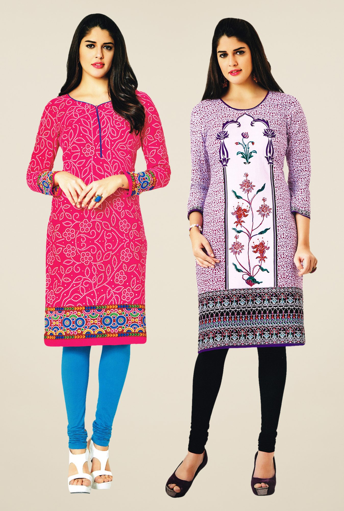 Salwar Studio Pink & Purple Kurtis (Pack Of 2)
