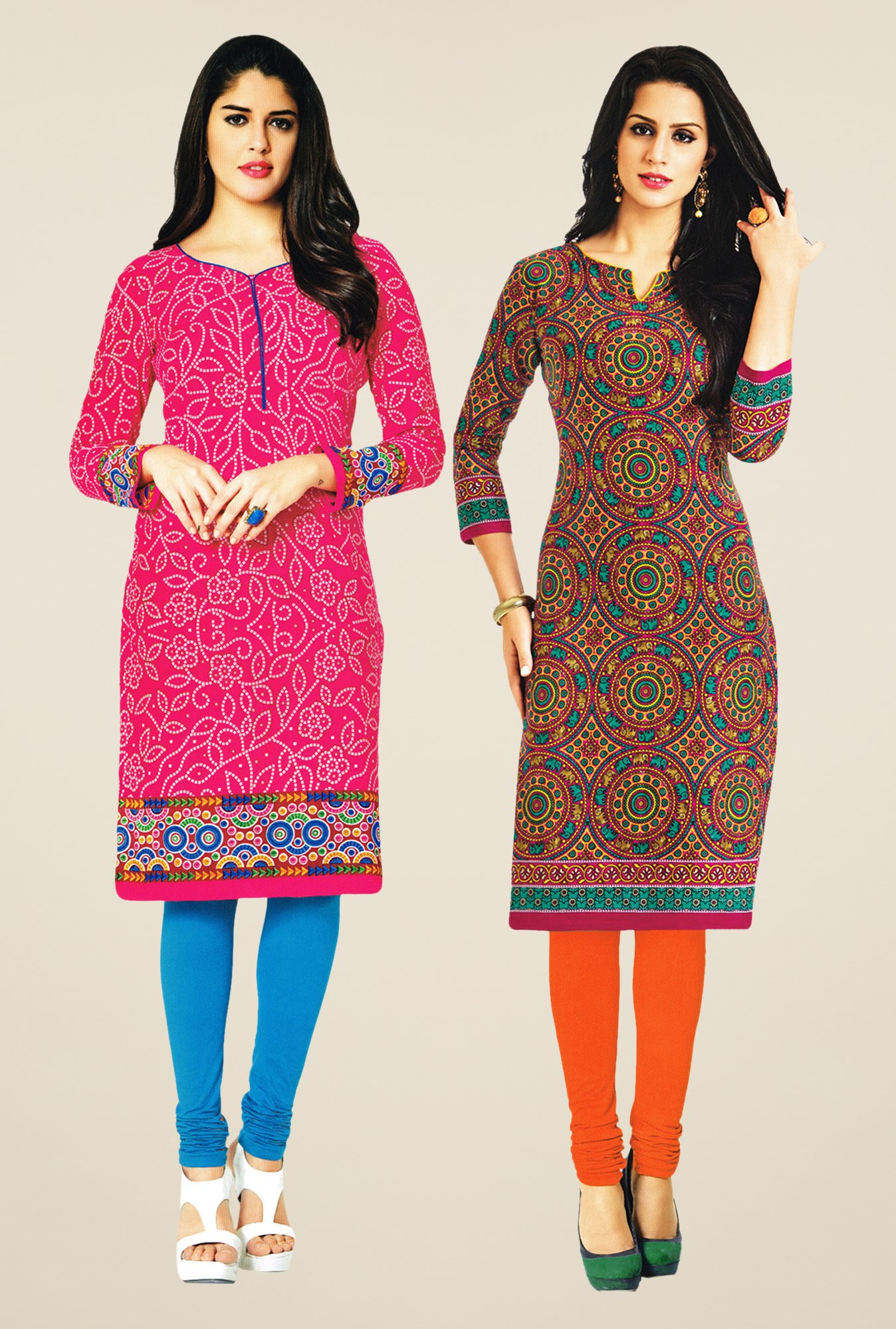 Salwar Studio Pink & Orange Kurtis (Pack Of 2)