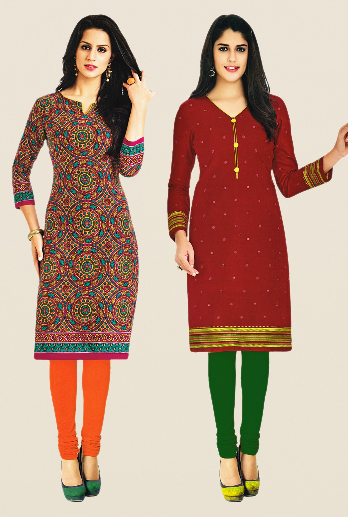 Salwar Studio Multicolor & Maroon Kurtis (Pack Of 2)
