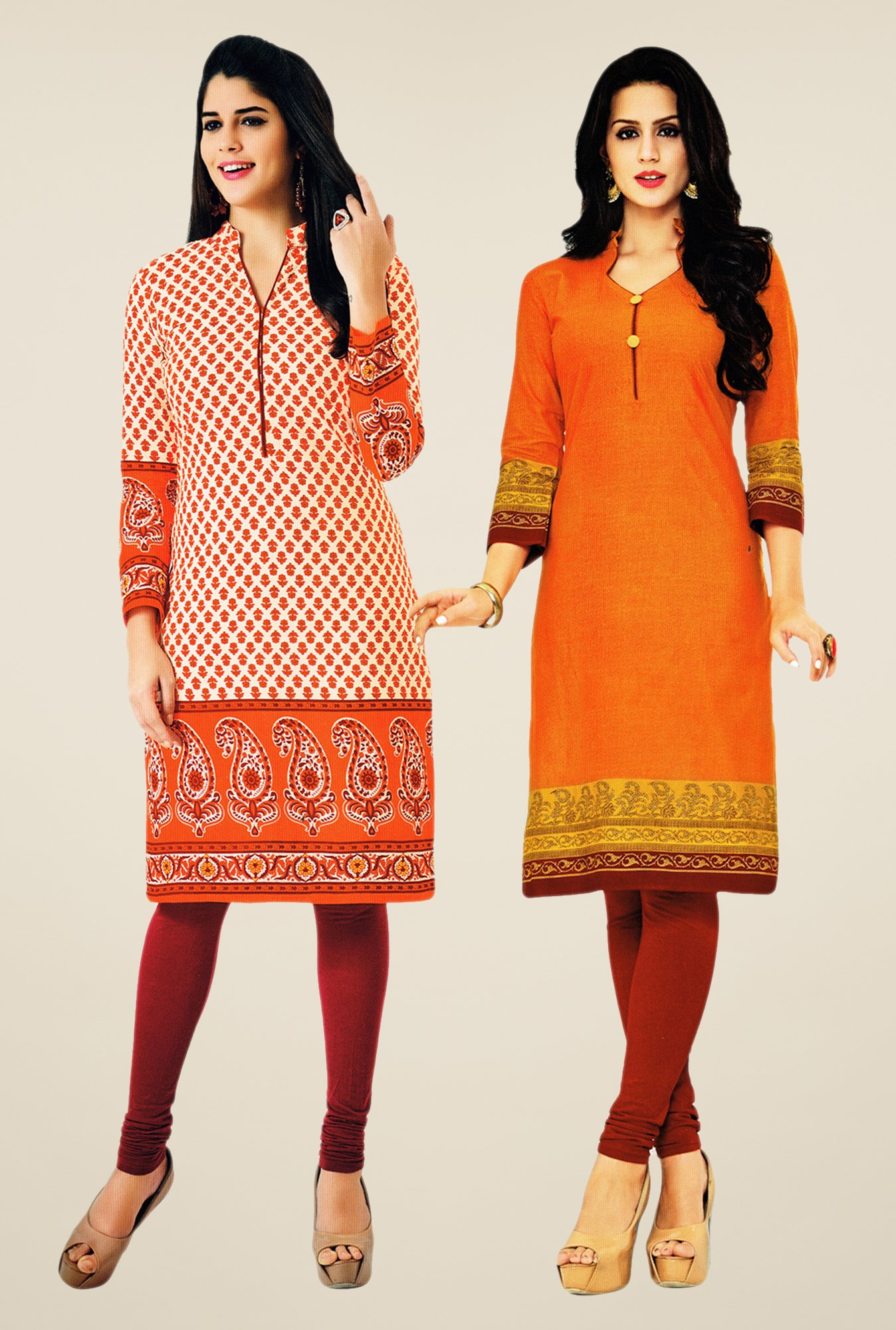Salwar Studio Orange Kurtis (Pack Of 2)