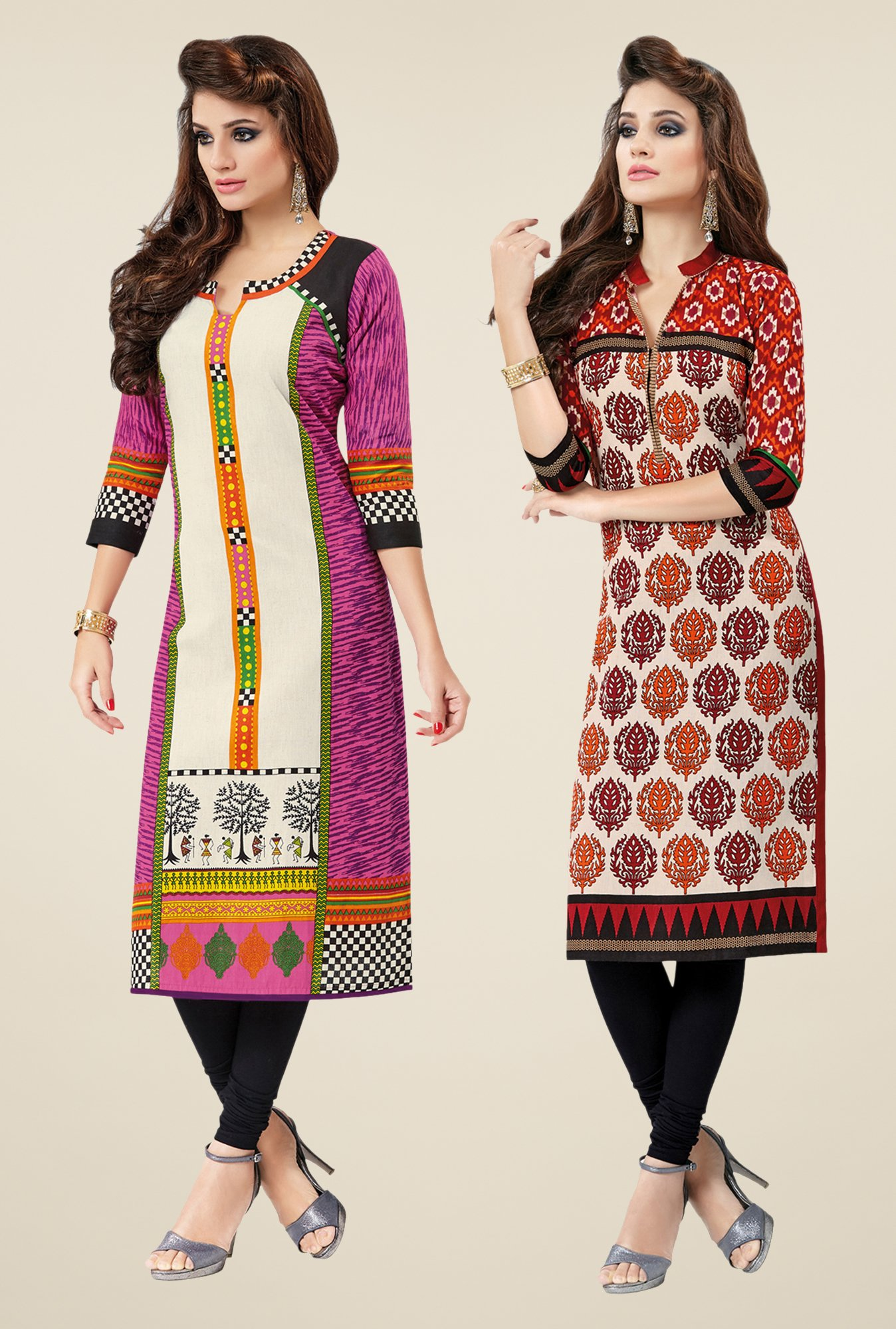 Salwar Studio Pink & Red Kurtis (Pack Of 2)