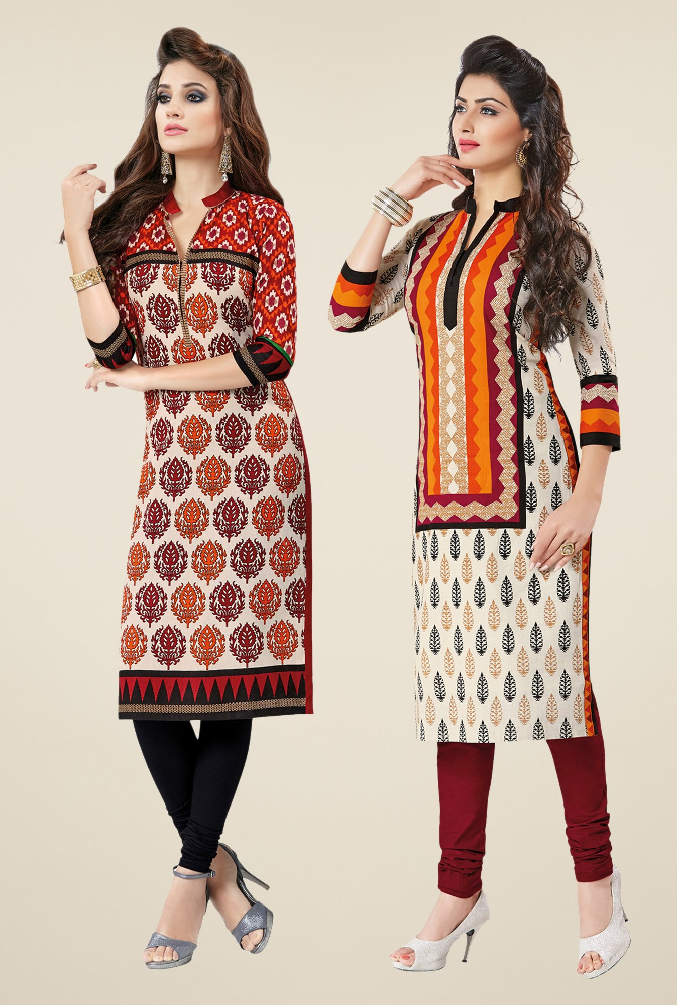Salwar Studio Red & Cream Kurtis (Pack Of 2)