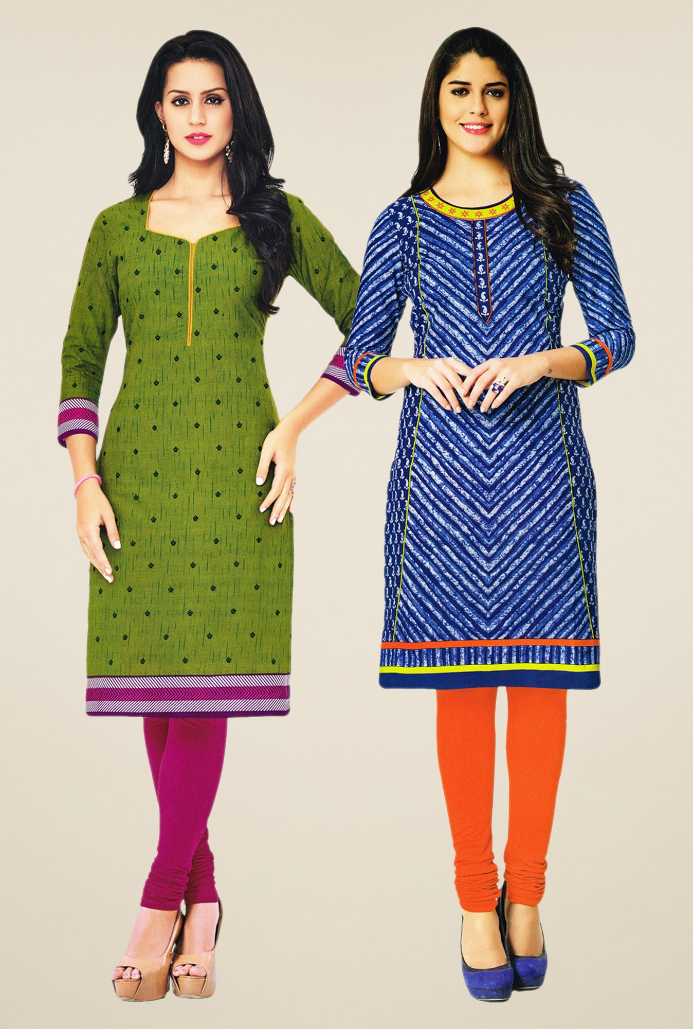 Salwar Studio Green & Blue Kurtis (Pack Of 2)