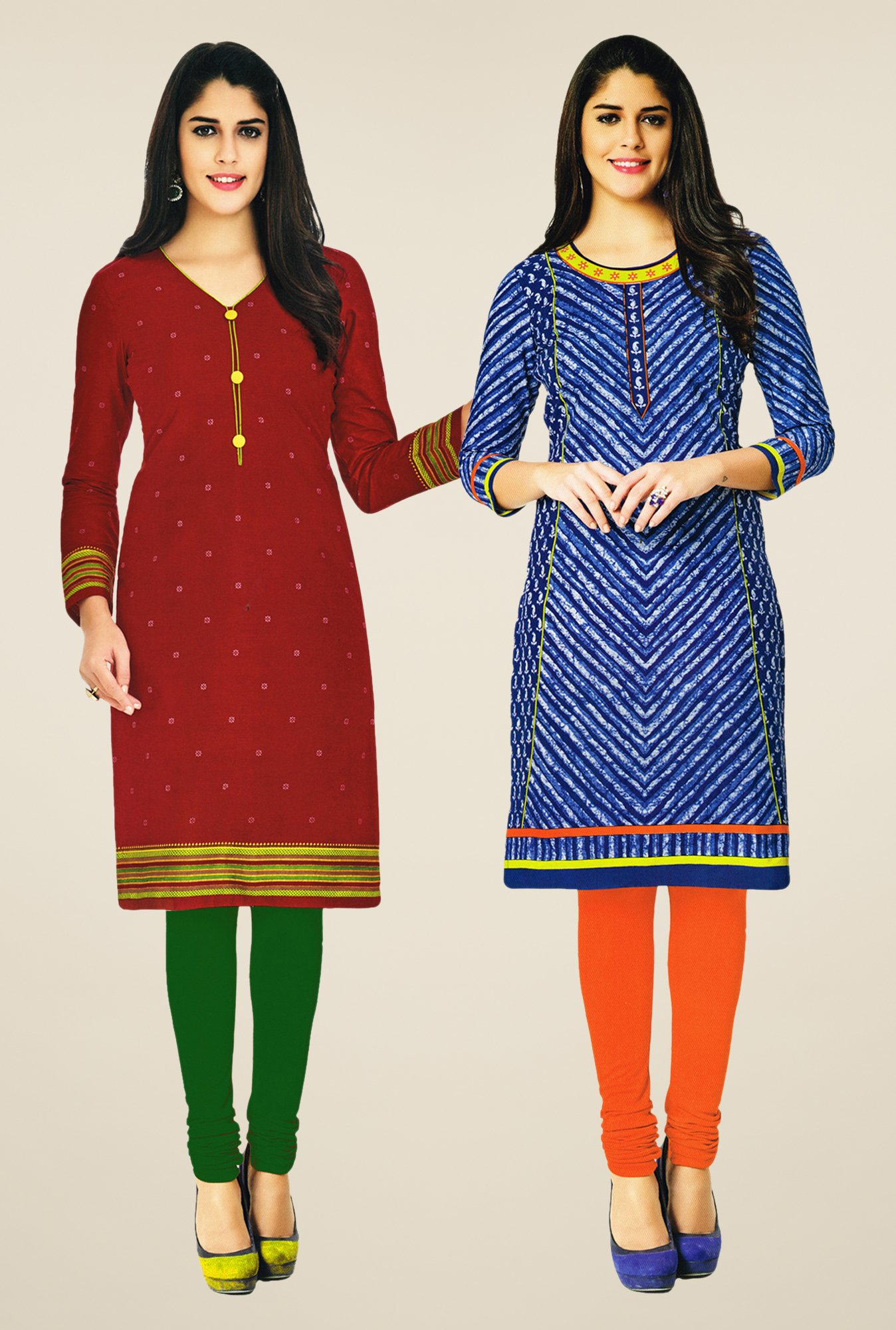 Salwar Studio Maroon & Blue Kurtis (Pack Of 2)
