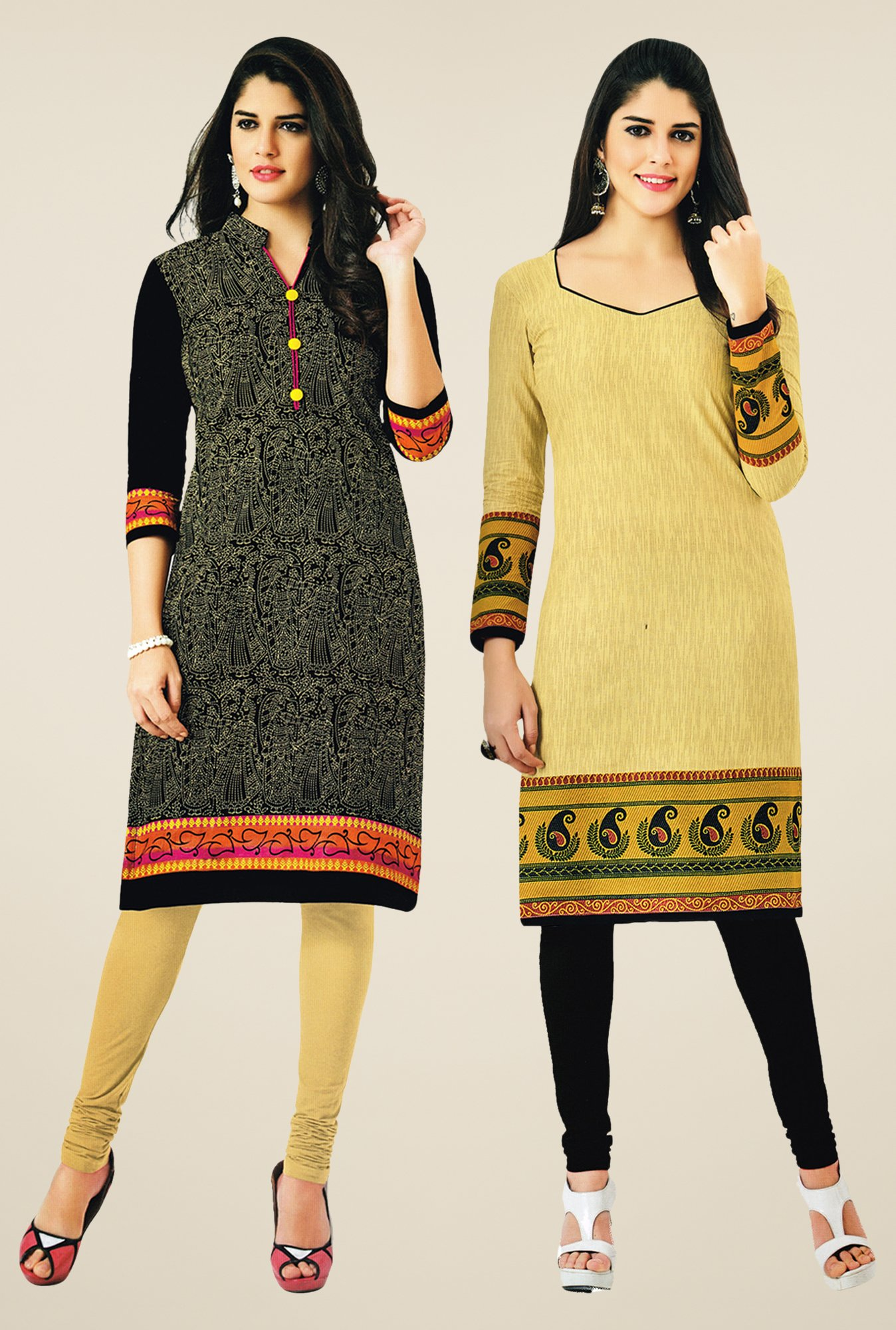 Salwar Studio Black & Yellow Kurtis (Pack Of 2)
