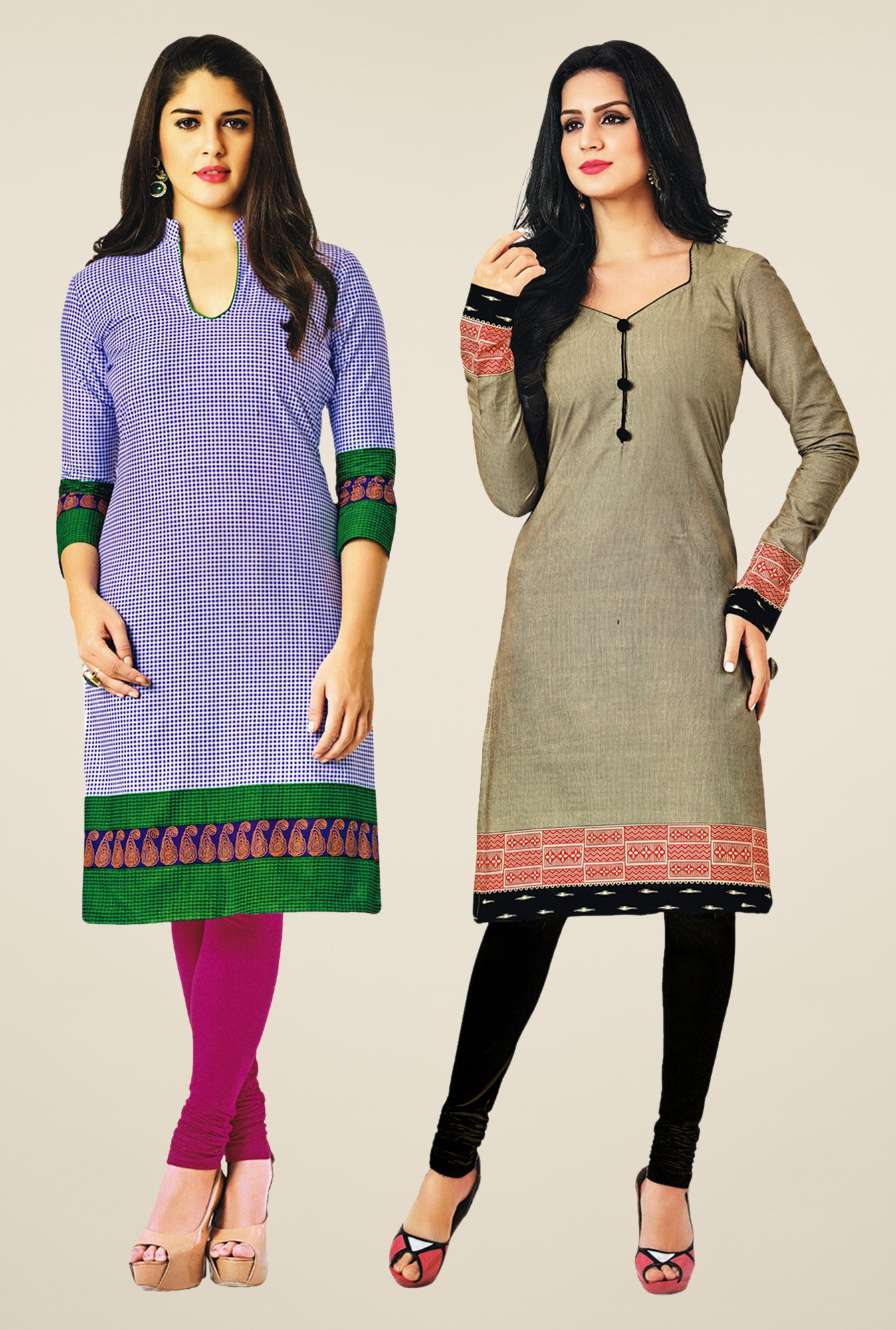 Salwar Studio Blue & Grey Kurtis (Pack Of 2)