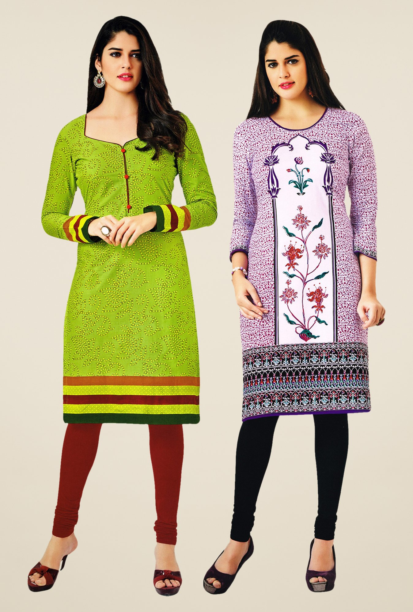 Salwar Studio Green & Purple Kurtis (Pack Of 2)
