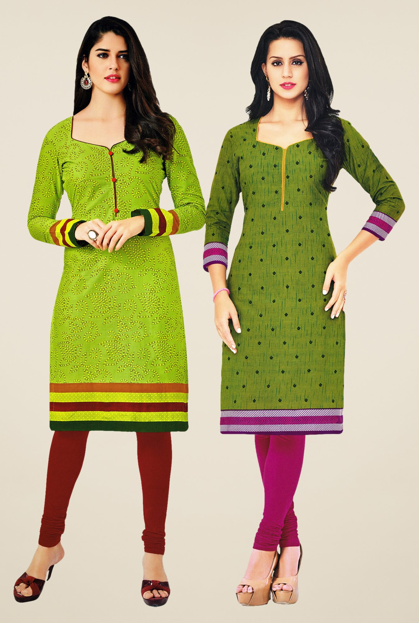 Salwar Studio Green Kurtis (Pack Of 2)