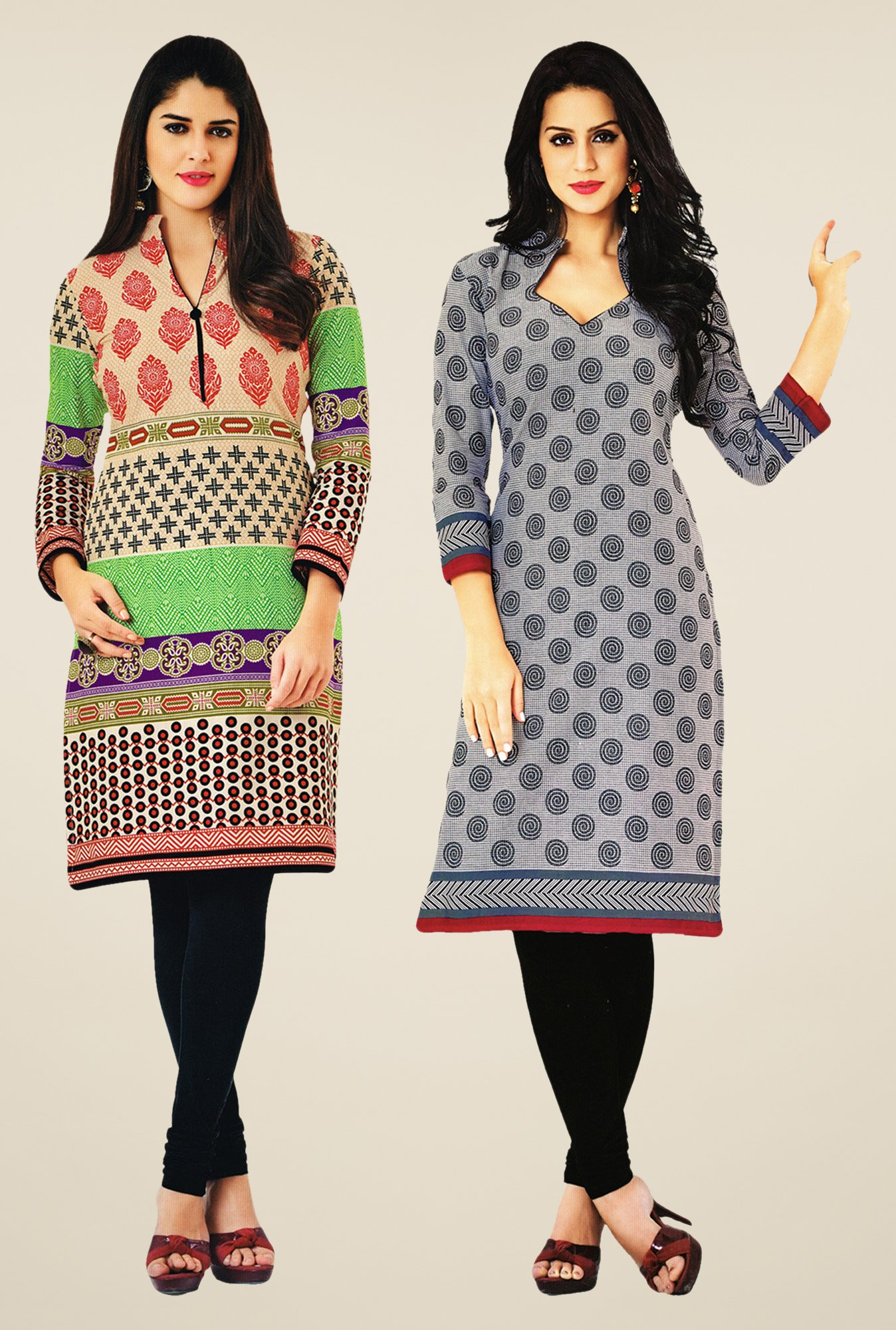 Salwar Studio Multicolor & Grey Kurtis (Pack Of 2)